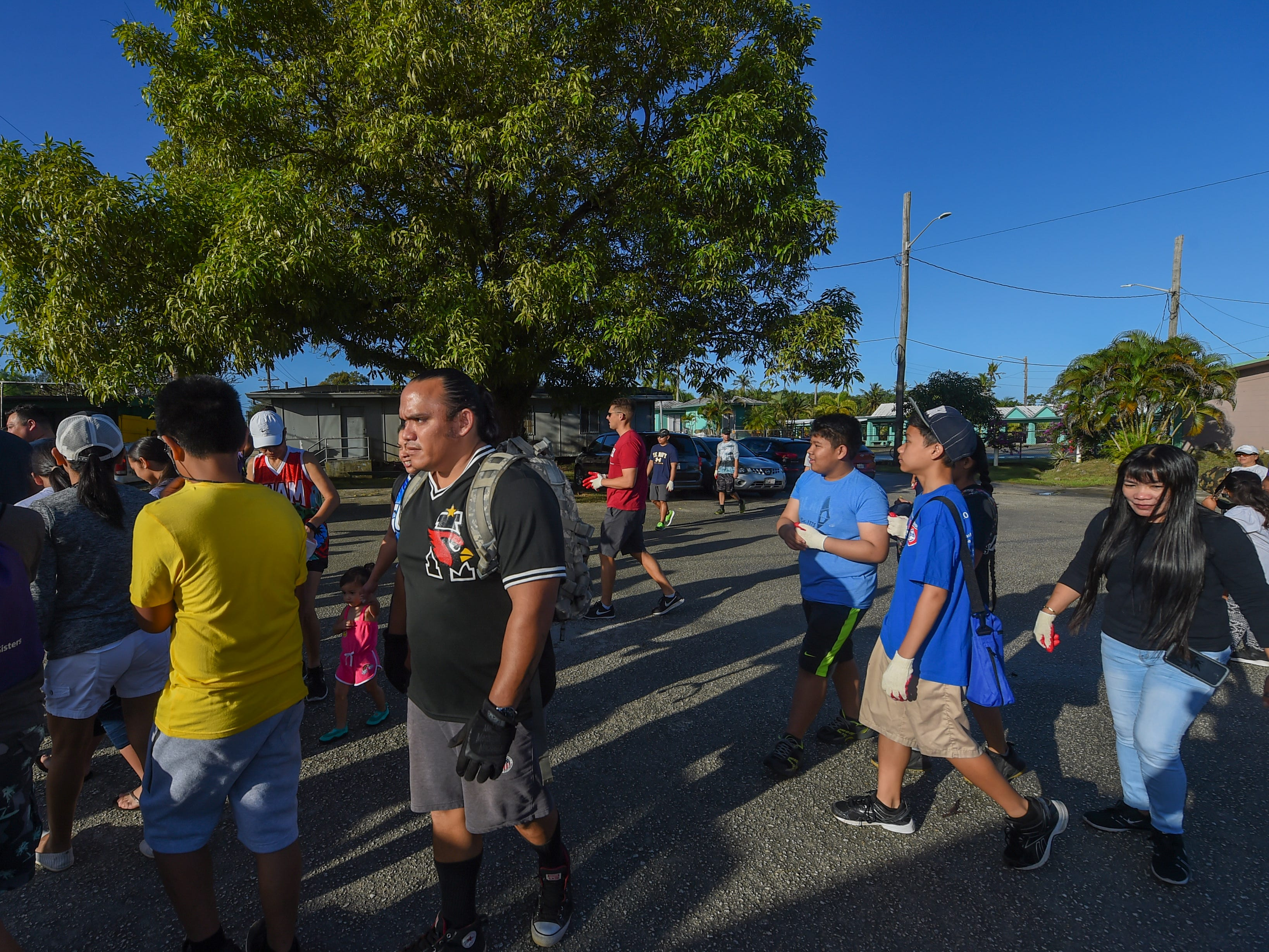 Volunteers gather at the Agat Community Center for the annual Na' Bonita Hagat village cleanup on Feb. 9, 2019.