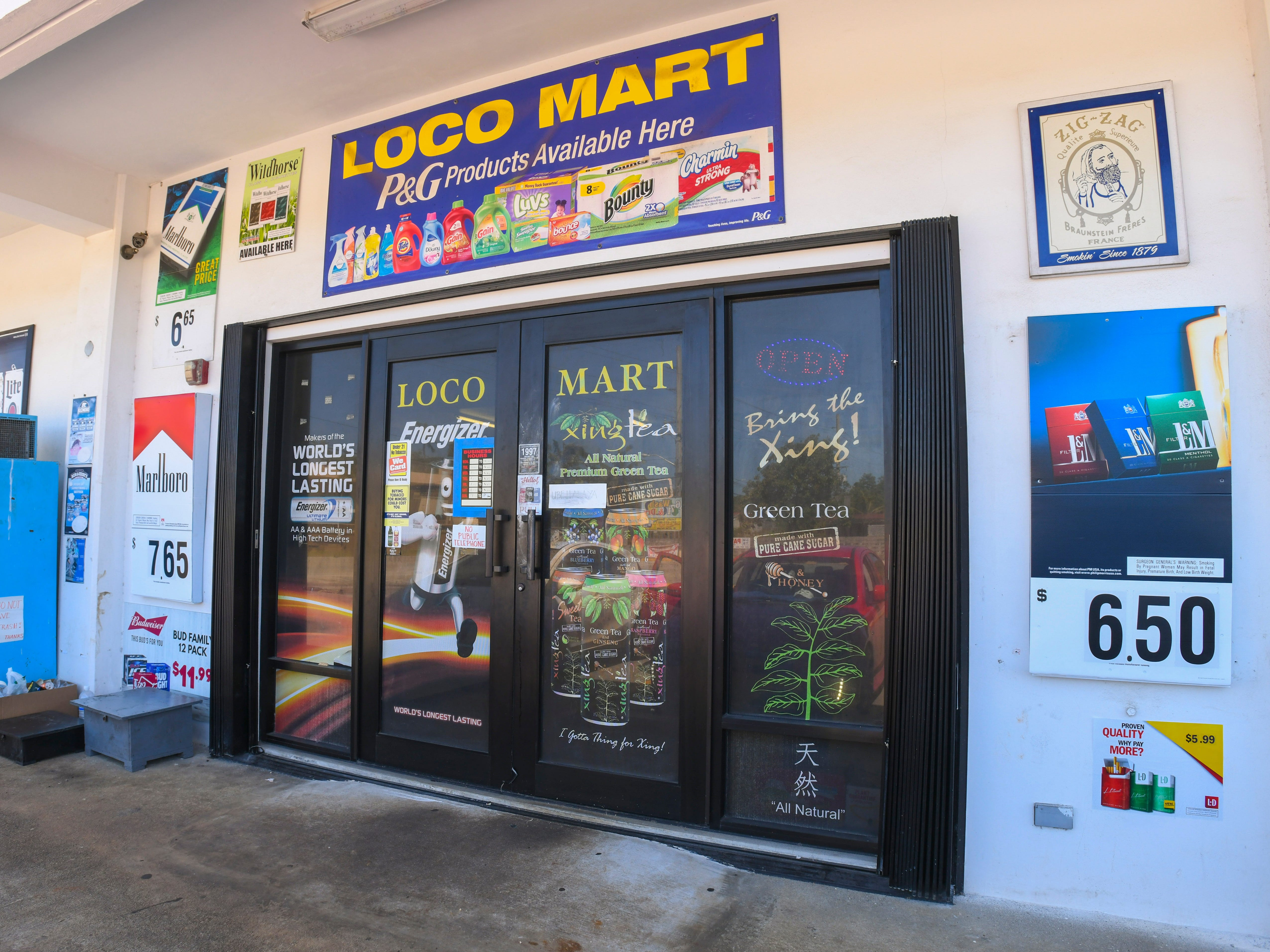 The front entrance of the Loco Mart in Dededo as seen on Saturday, Feb. 9, 2019. The Guam Police Department is investigating an armed robbery complaint where a masked man with a rifle, entered the business and demanded money from the cashier, according to GPD.