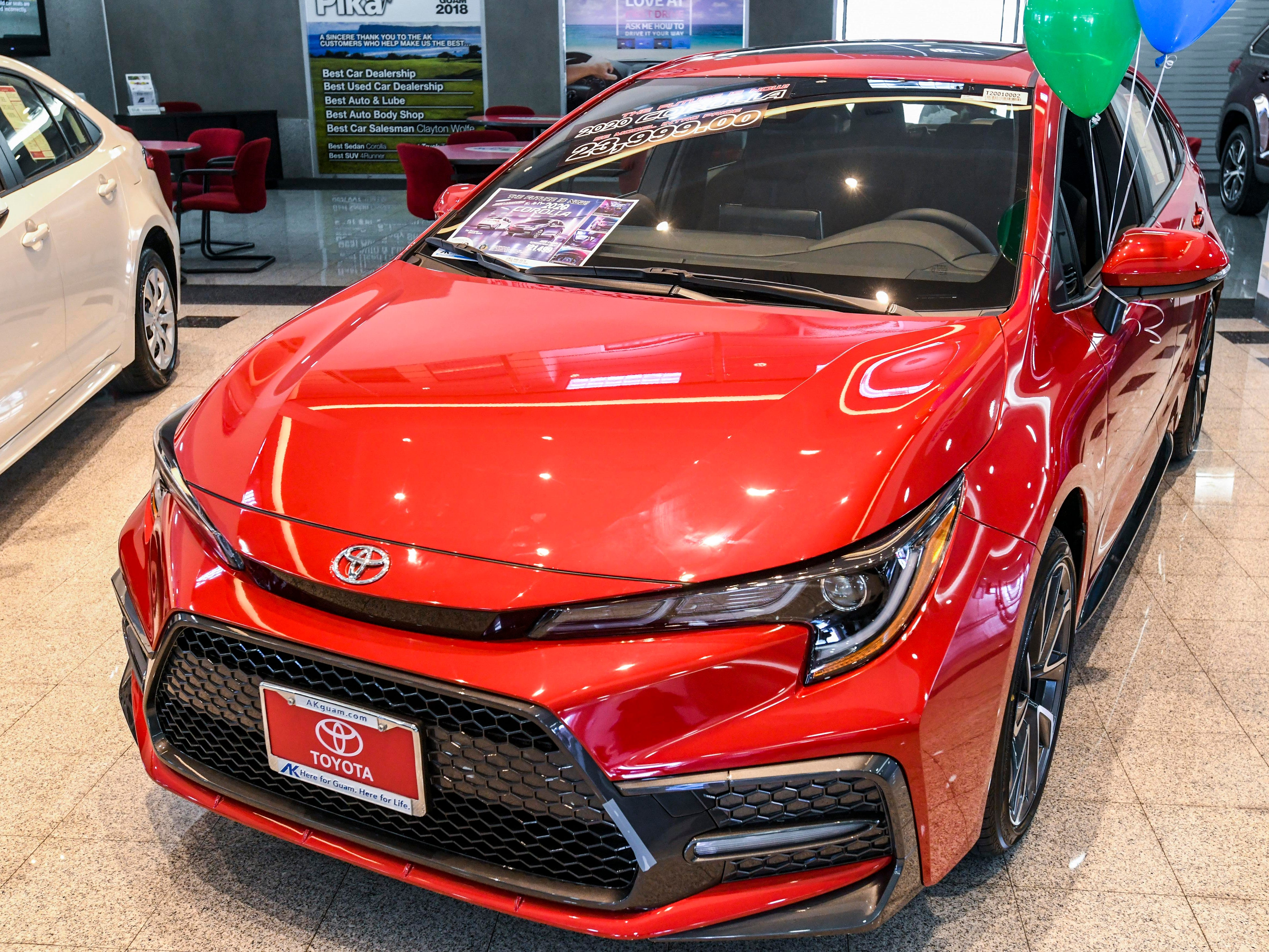The 2020 Toyota Corolla SE (Sport Edition), as seen on the showroom floor of the Atkins Kroll dealership, in Tamuning on Saturday, Feb. 9, 2019. The newly redesigned vehicle is one of three models introduced and available at Atkins Kroll Toyota. Other models include the Toyota Corolla LE (Luxury Edition) and the Toyota Corolla HE (Hybrid Edition).
