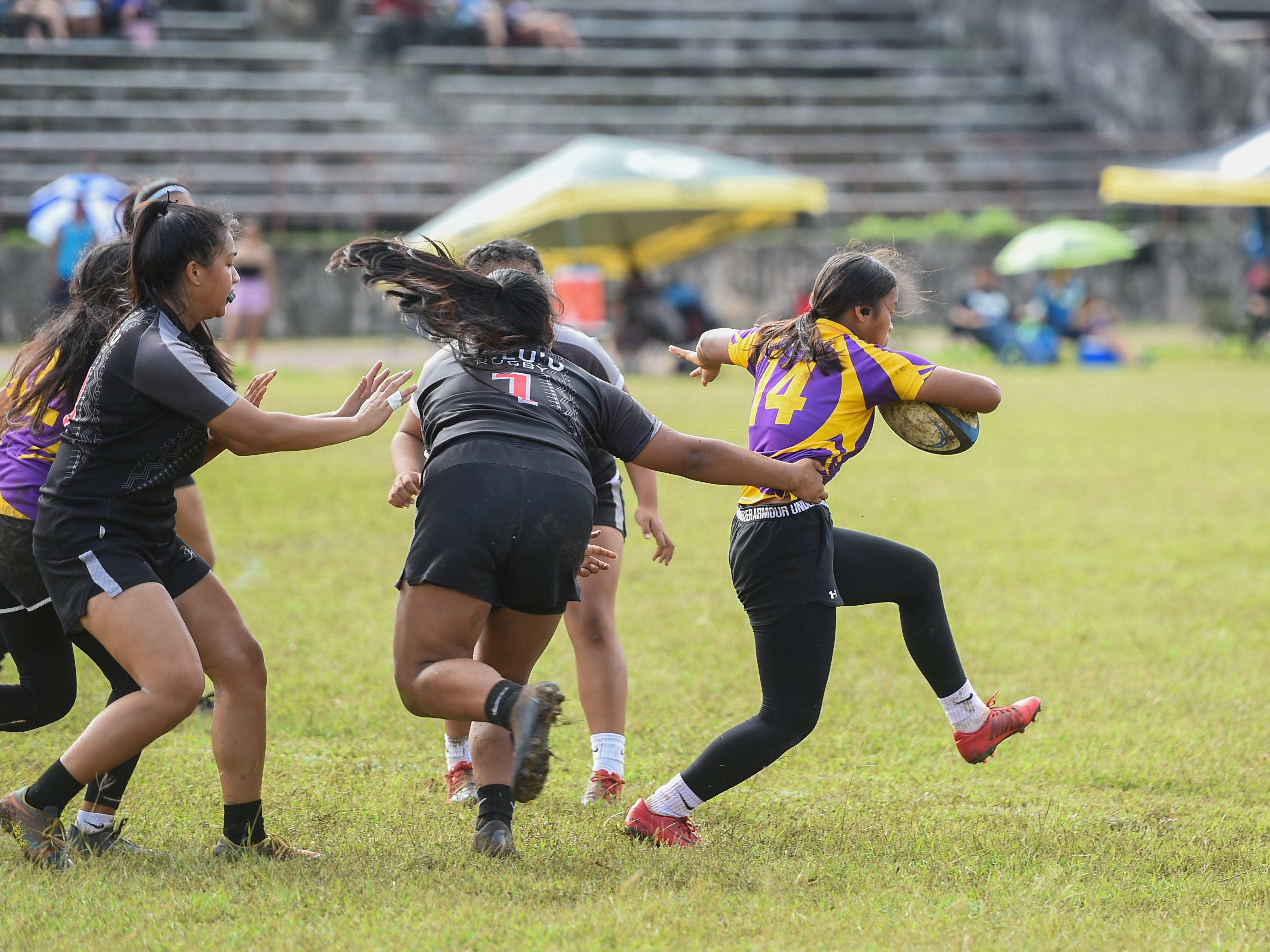 The top-ranked George Washington Geckos and Simon Sanchez Sharks battled out during a IIAAG Girls' Rugby match at the Southern High School Field, Feb. 9, 2019.