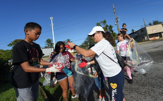 Volunteers consisting of Marcial A. Sablan Elementary School GATE Program students and village residents set out to collect trash during the annual Na' Bonita Hagat village cleanup in Agat on Feb. 9, 2019.