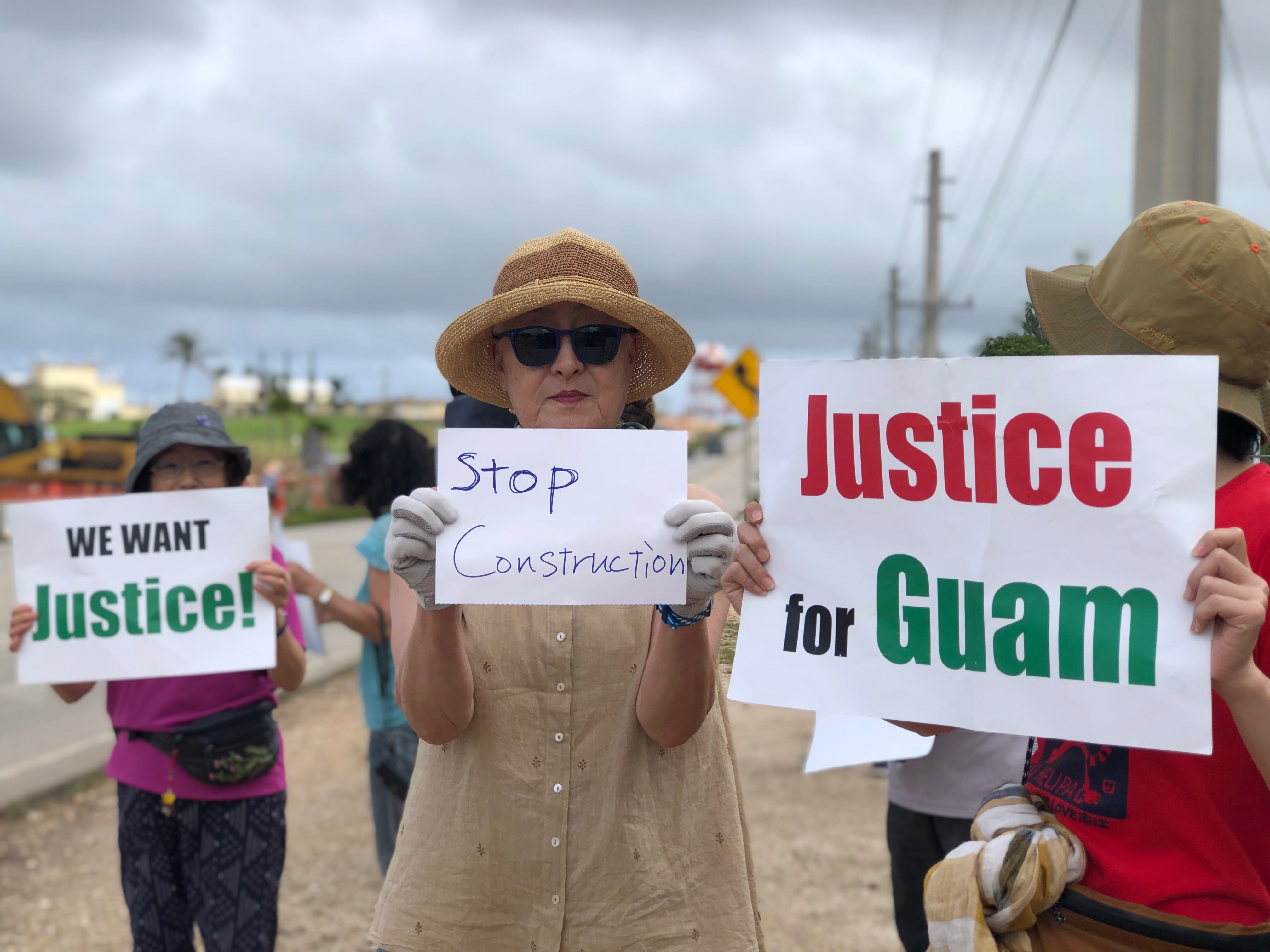 Among the demonstrators against proposed surface danger zone at finegayan were Japan residents visiting Guam to learn more about the buildup. Groups of people protested along Route 3 and in boats near the proposed zone on Saturday, Feb. 9, 2019.