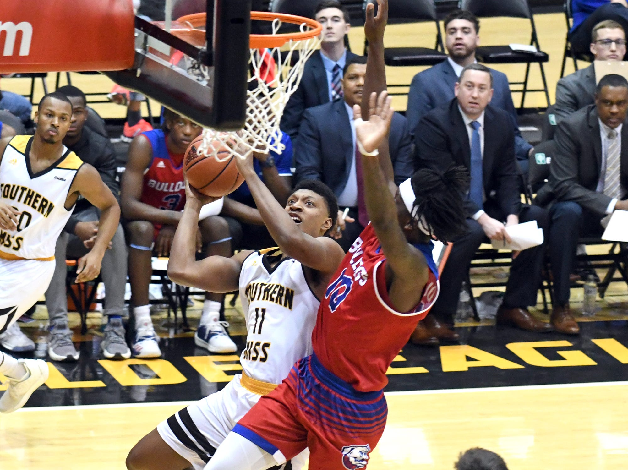 Southern Miss guard Ladavius Draine goes for the basket in a game against Louisiana Tech in Reed Green Coliseum on Saturday, February 9, 2019.
