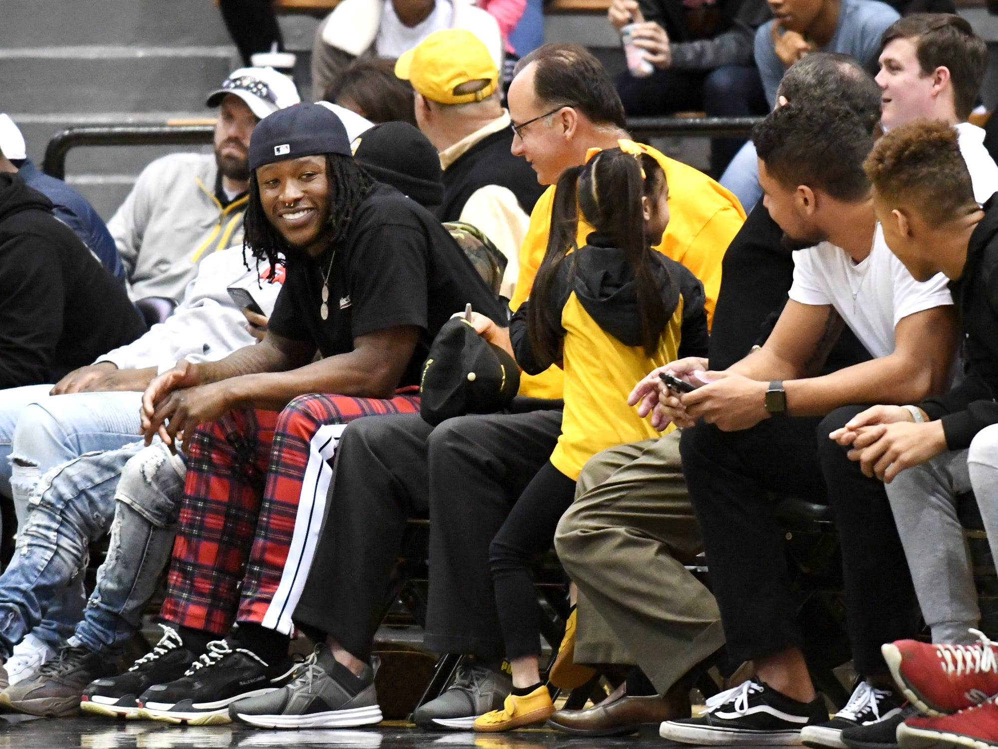 New Orleans Saints running back Alvin Kamara watches the Southern Miss men's basketball in a game against Louisiana Tech in Reed Green Coliseum on Saturday, February 9, 2019.