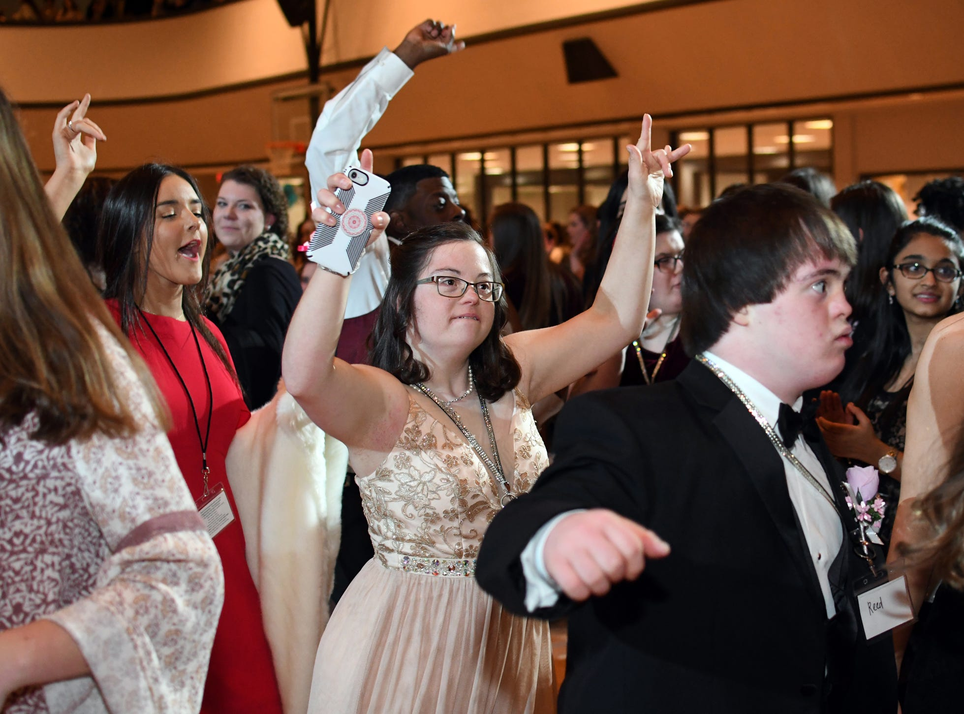 Prom guests dance during the Night to Shine Prom at Temple Baptist Church on Friday, February 8, 2019. Churches around the world hosted the prom by the Tim Tebow Foundation for people with special needs.