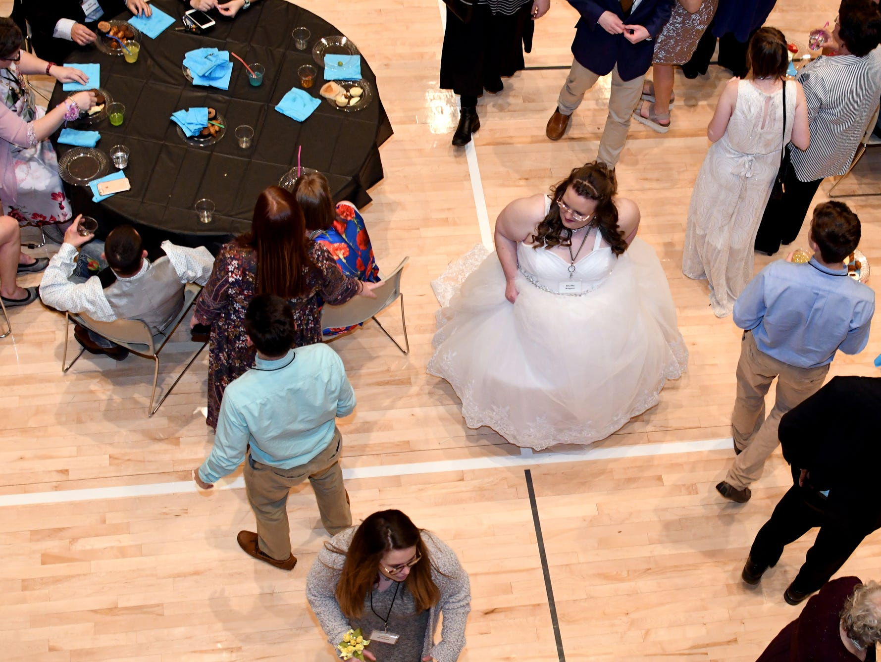 Guests dance during the Night to Shine Prom at Temple Baptist Church on Friday, February 8, 2019. Churches around the world hosted the prom by the Tim Tebow Foundation for people with special needs.
