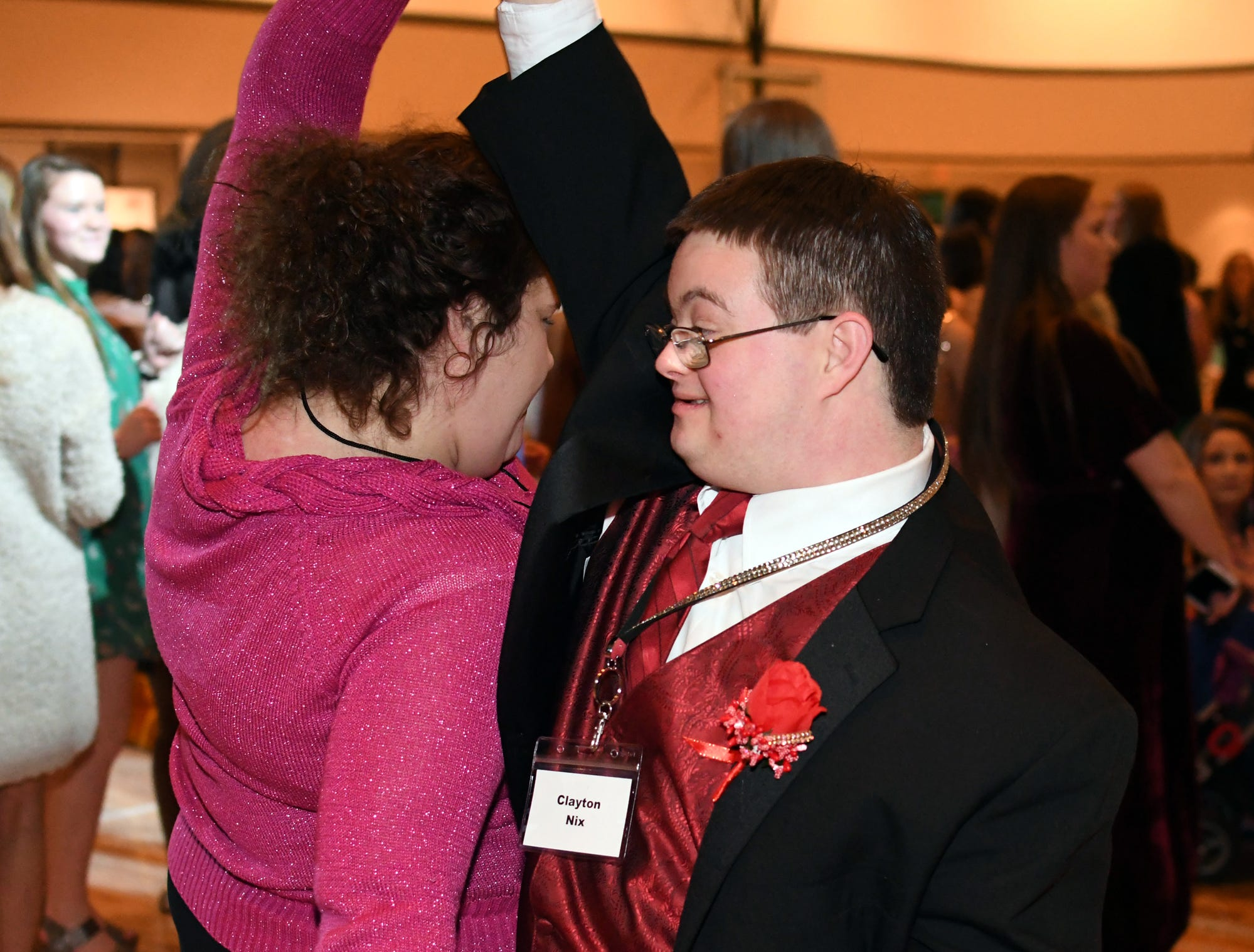 Clayton Nix dances during the Night to Shine Prom at Temple Baptist Church on Friday, February 8, 2019. Churches around the world hosted the prom by the Tim Tebow Foundation for people with special needs.