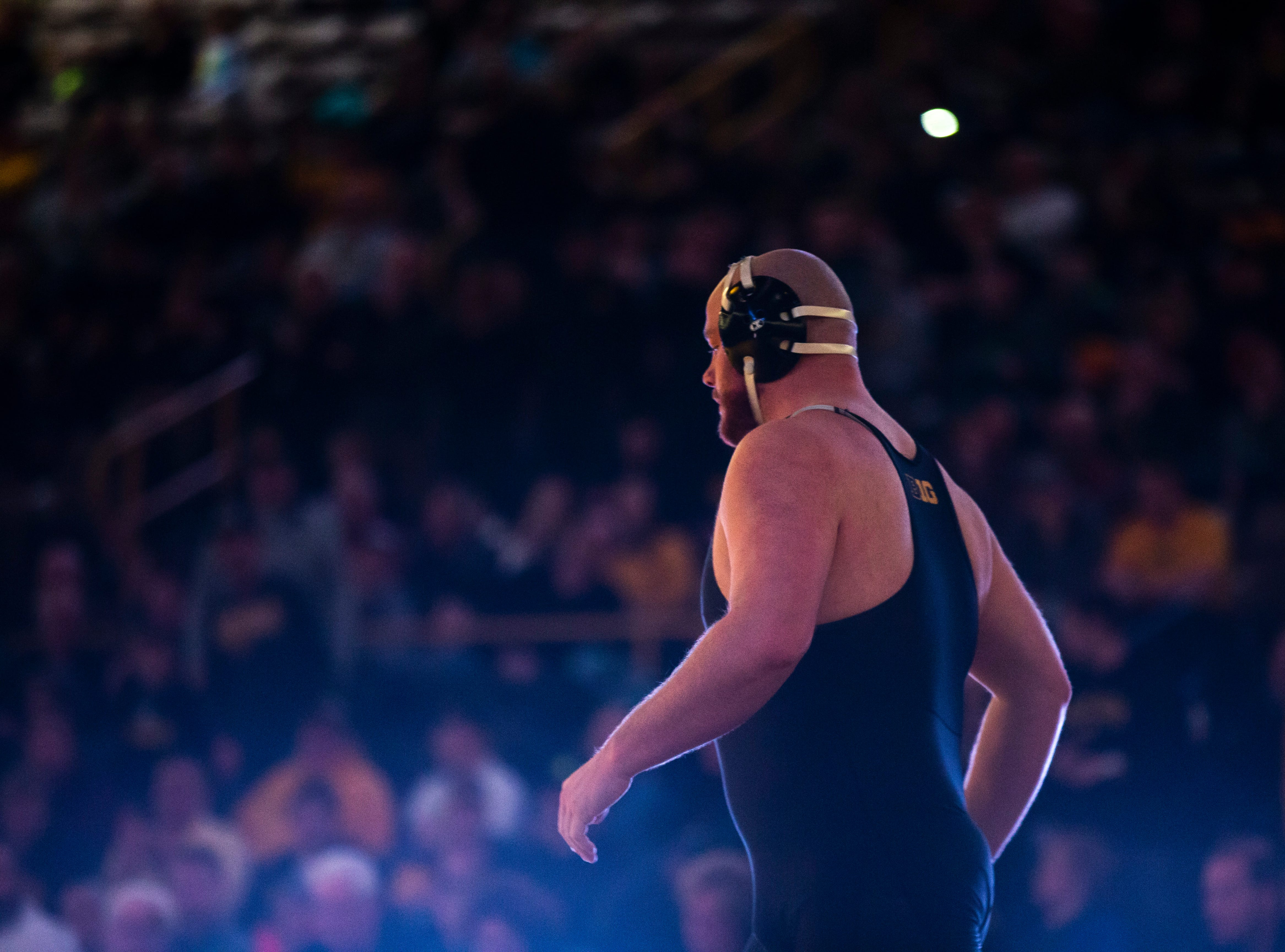 Iowa's Sam Stoll is introduced before a match at 285 during a NCAA Big Ten Conference wrestling dual on Friday, Feb. 8, 2019 at Carver-Hawkeye Arena in Iowa City, Iowa.