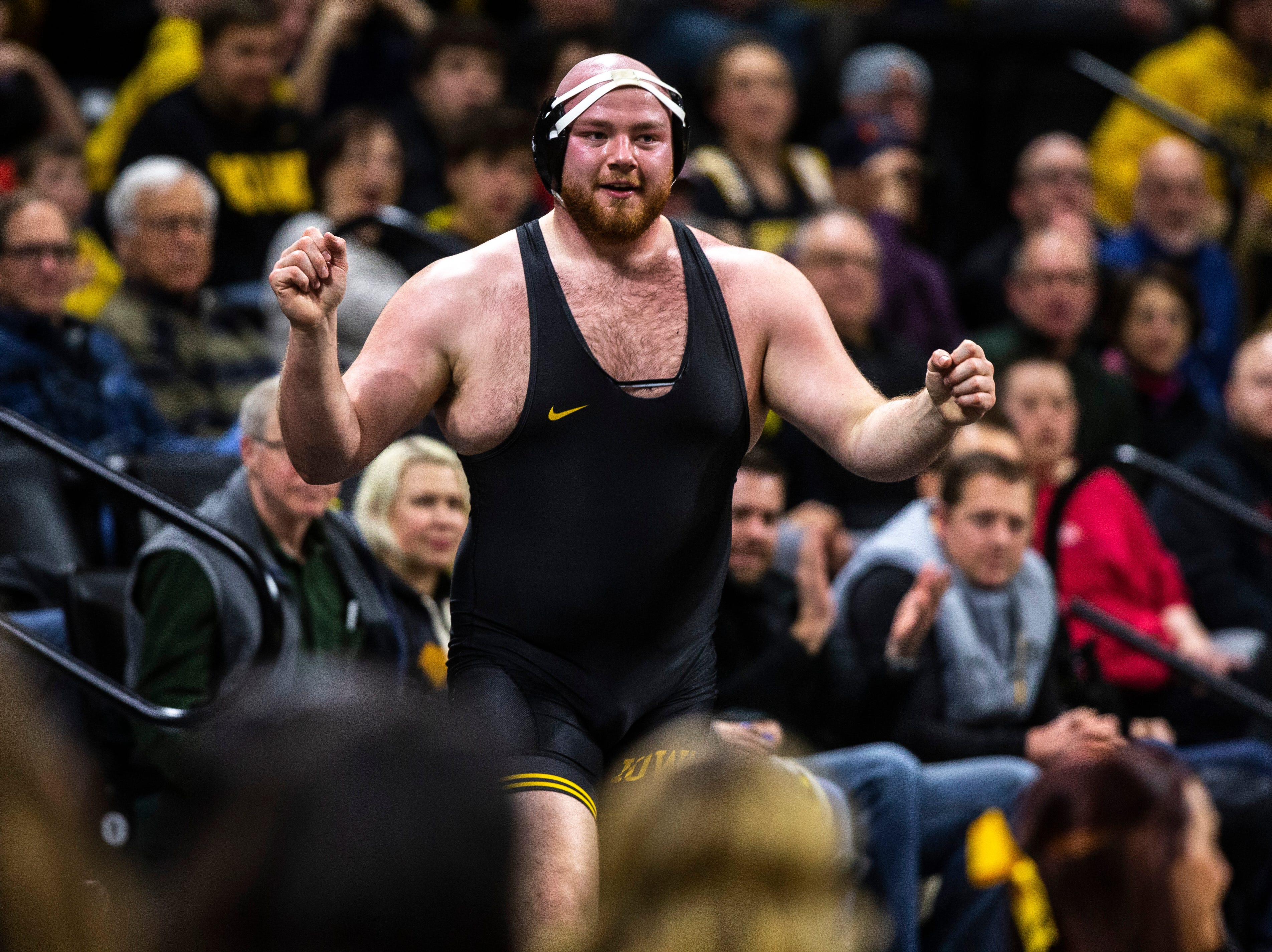 Iowa's Sam Stoll reacts after getting pushed off the mat during a match at 285 against Maryland during a NCAA Big Ten Conference wrestling dual on Friday, Feb. 8, 2019 at Carver-Hawkeye Arena in Iowa City, Iowa.