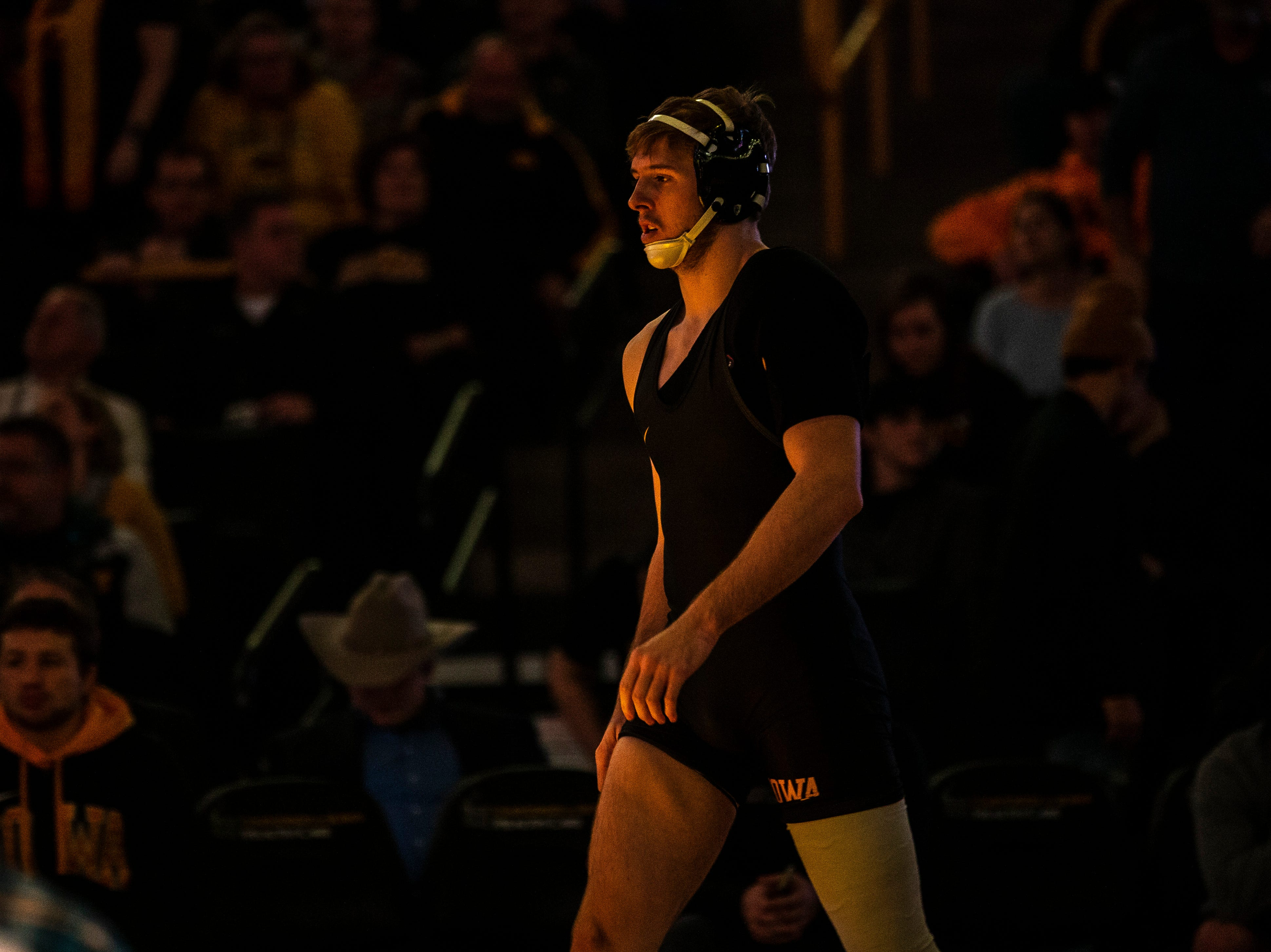 Iowa's Mitch Bowman is introduced before a match at 174 during a NCAA Big Ten Conference wrestling dual on Friday, Feb. 8, 2019 at Carver-Hawkeye Arena in Iowa City, Iowa.