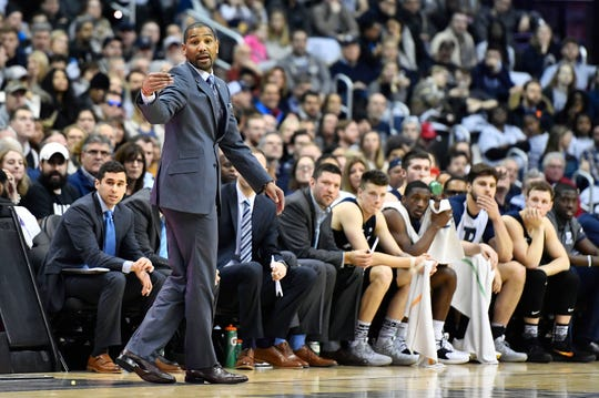 Butler Bulldogs head coach LaVall Jordan gestures during the first half against the Georgetown Hoyas at Capital One Arena.