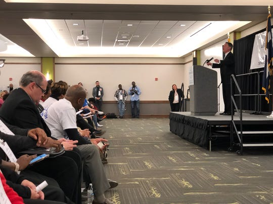 Indianapolis Mayor Joe Hogsett speaks to more than 300 precinct workers at the Marion County Democratic Party Pre-Primary Convention at Ivy Tech's Culinary and Conference Center on Saturday.