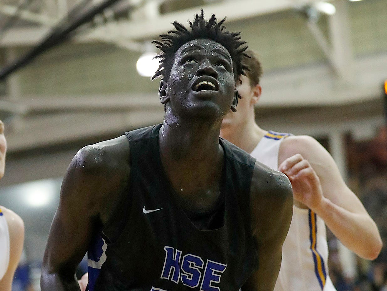 FILE – Hamilton Southeastern big man Mabor Majak (had 13 points in Royals' win over Westfield.