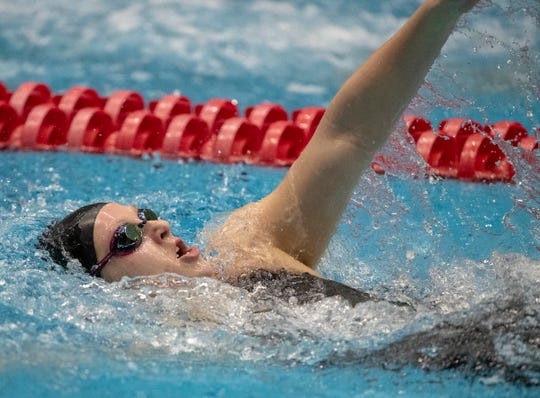 Emily Weiss, runner up in the 200 yard IM, for Yorktown High School, IHSAA Girls State Swimming and Diving Finals, IUPUI Natatorium, Indianapolis, Saturday, Feb. 9, 2019. Carmel High School, the team winner, has won 33 straight state titles, extending their national record.