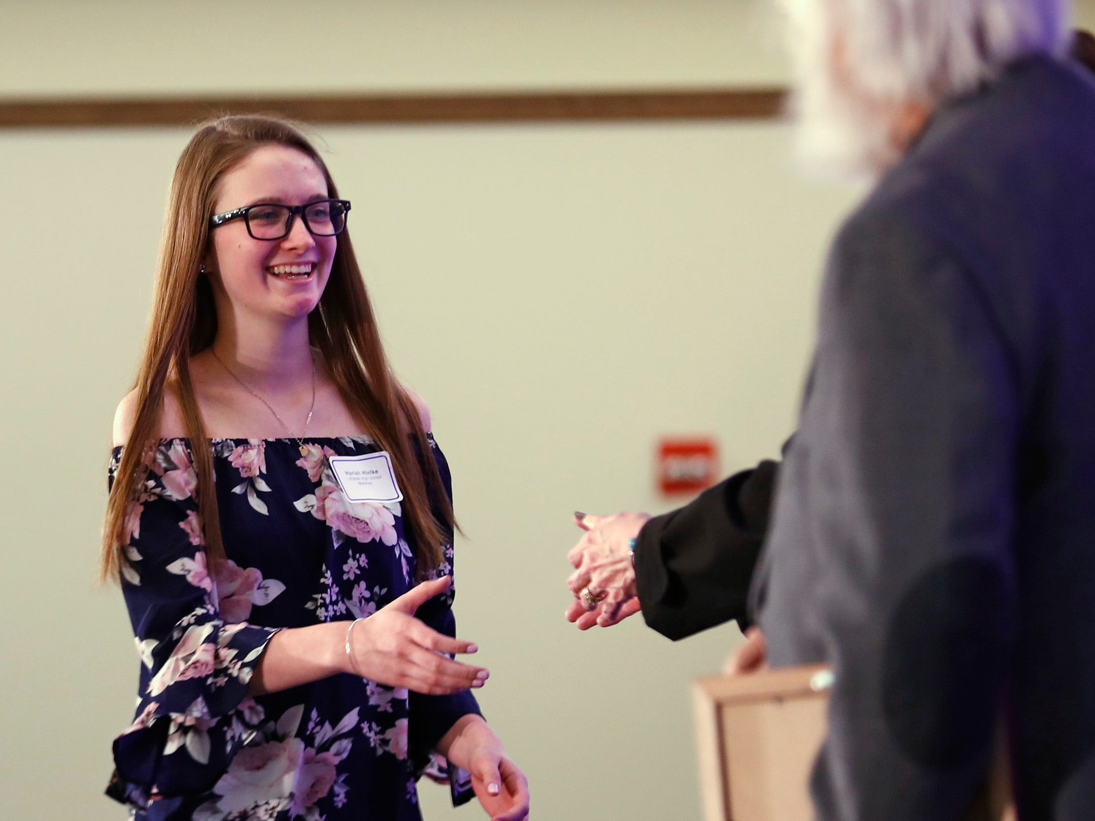 Lutheran High School student Mariah Mielke is honored with a Circle of Valor award at the 44th Annual Abe Lincoln Awards Program, Friday, Feb. 8, 2019. The Kiwanis Club of Indianapolis program was held at Ivy Tech Community College.  20 high school student were honored at the annual event which celebrates overcoming adversity in life to succeed.