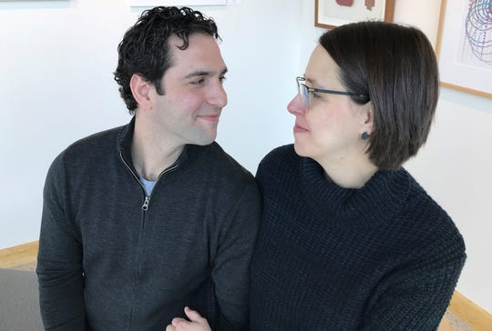 Matt Rubin, founder of SoChatti dairy-free chocolate company, and his wife Sarah Rubin. Matt Rubin developed his line of chocolates when his wife was diagnosed with a milk allergy.