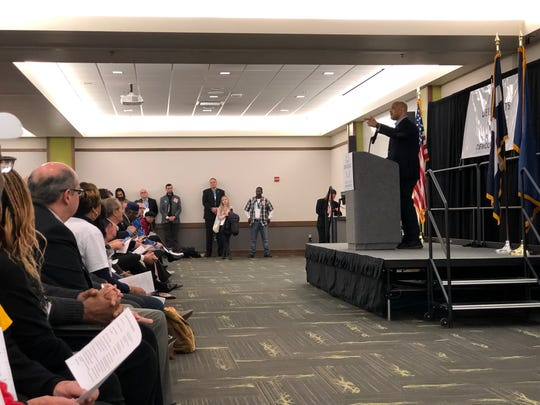 Andre Carson, D-Indianapolis, speaks to more than 300 precinct workers at the Marion County Democratic Party Pre-Primary Convention at Ivy Tech's Culinary and Conference Center on Saturday.