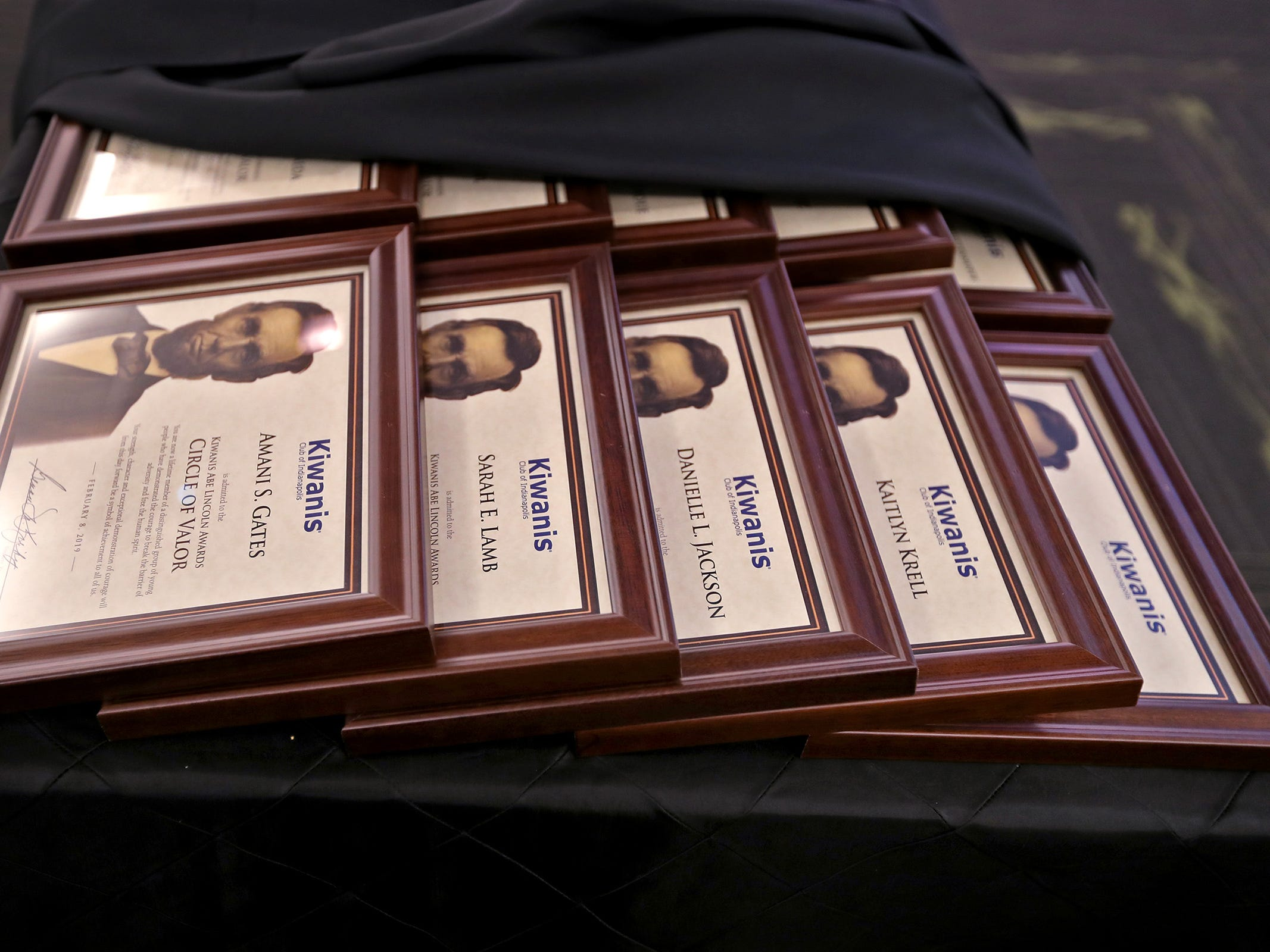 Awards are ready to be distributed at the 44th Annual Abe Lincoln Awards Program, Friday, Feb. 8, 2019. The Kiwanis Club of Indianapolis program was held at Ivy Tech Community College.  20 high school student were honored at the annual event which celebrates overcoming adversity in life to succeed.