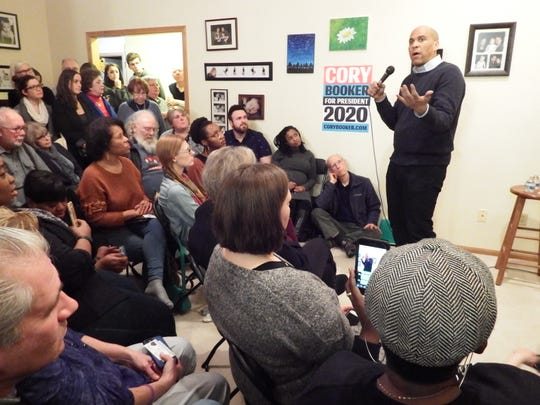 Democratic presidential candidate Senator Cory Booker (D-NJ) speaks during a campaign stop at an Iowa City home on Feb. 8, 2019.