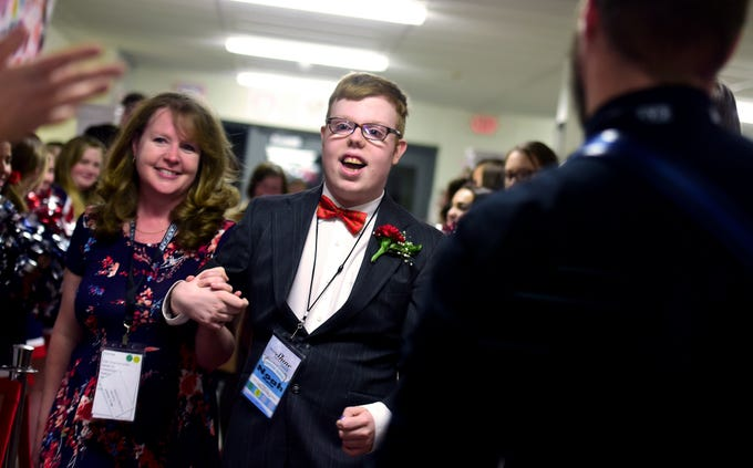 Prom guests enjoyed Night to Shine at Chenango Valley High School on Friday night. Hosted by First United Methodist Church of Chenango Bridge and sponsored by the Tim Tebow Foundation, the event was one of over 600 prom night experiences held across the globe for special needs people. Each Night to Shine guest is also crowned king or queen of the prom. February 8, 2019.