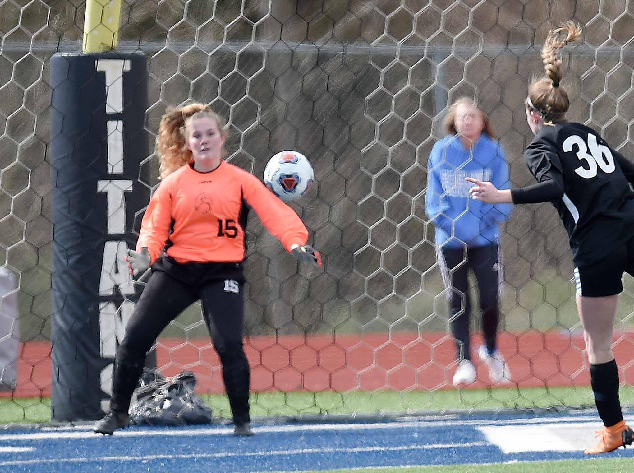 West Lauderdale's Ember Temple (36) heads the ball for a goal against Florence in the Class 4A state championship in the MHSAA BlueCross Blue Shield of Mississippi Soccer Classic on Saturday, February 9, 2019, at Ridgeland High School in Ridgeland, Miss.