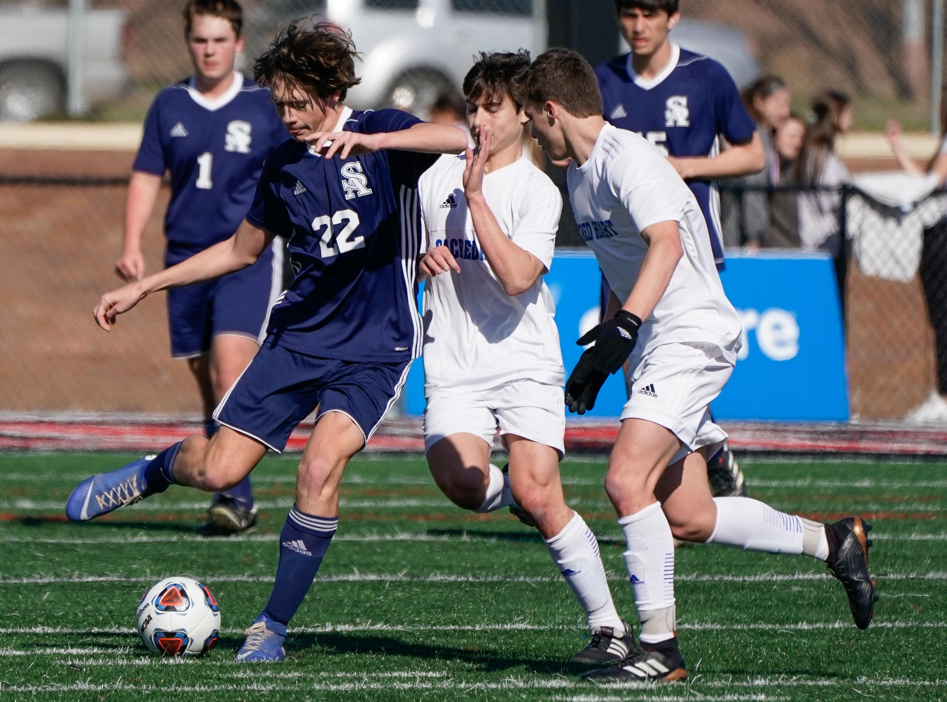 St. Andrew's Chadwick Collins (22) tries to control a ball against Sacred Heart during the MHSAA 1A,2A,3A  Boys Soccer Championships held at Brandon High School in Brandon, MS, Saturday February 9, 2019.(Bob Smith-For The Clarion Ledger)