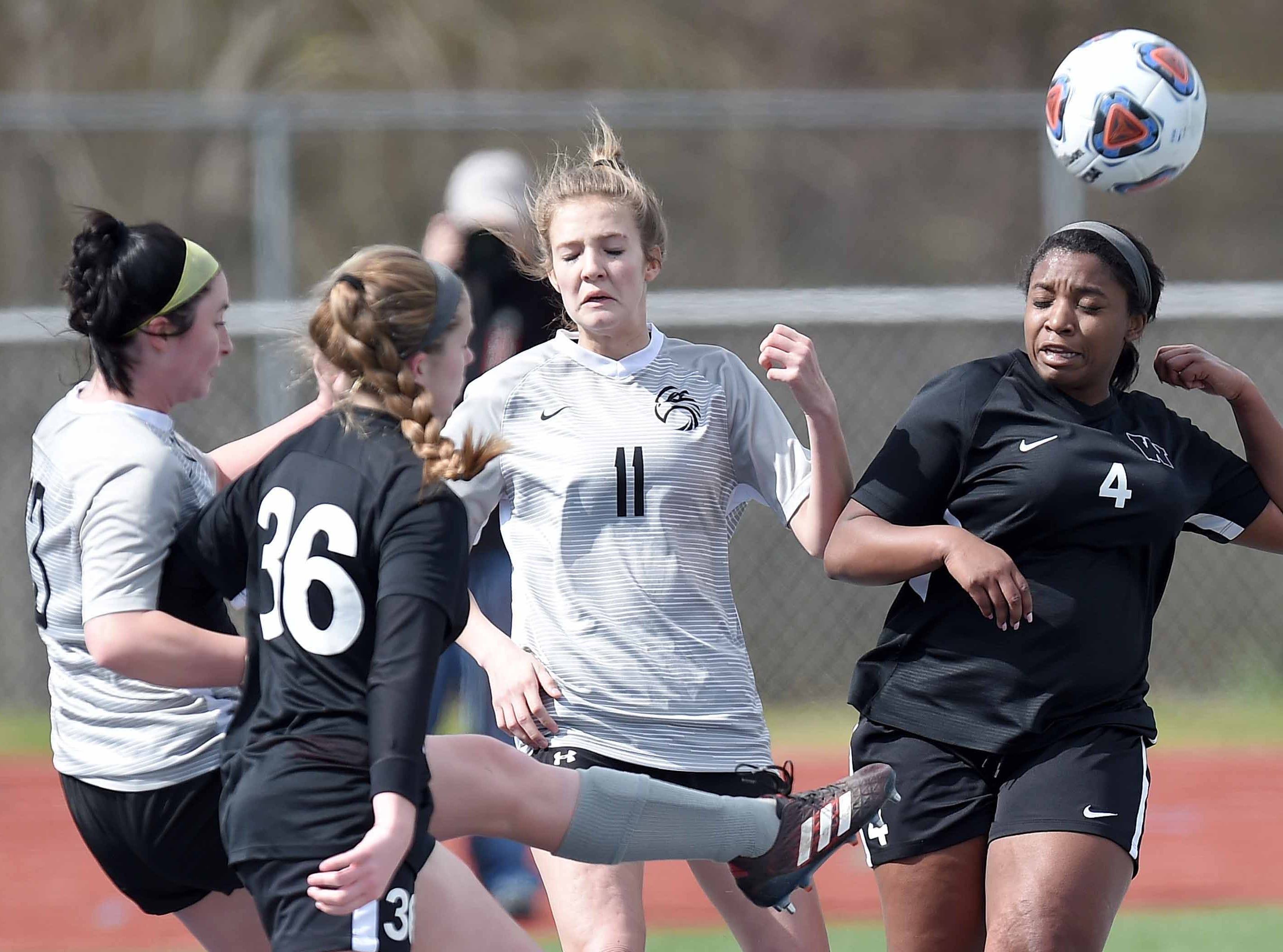 Florence's Grace Giglio (13) clears the ball against West Lauderdale in the Class 4A state championship in the MHSAA BlueCross Blue Shield of Mississippi Soccer Classic on Saturday, February 9, 2019, at Ridgeland High School in Ridgeland, Miss.