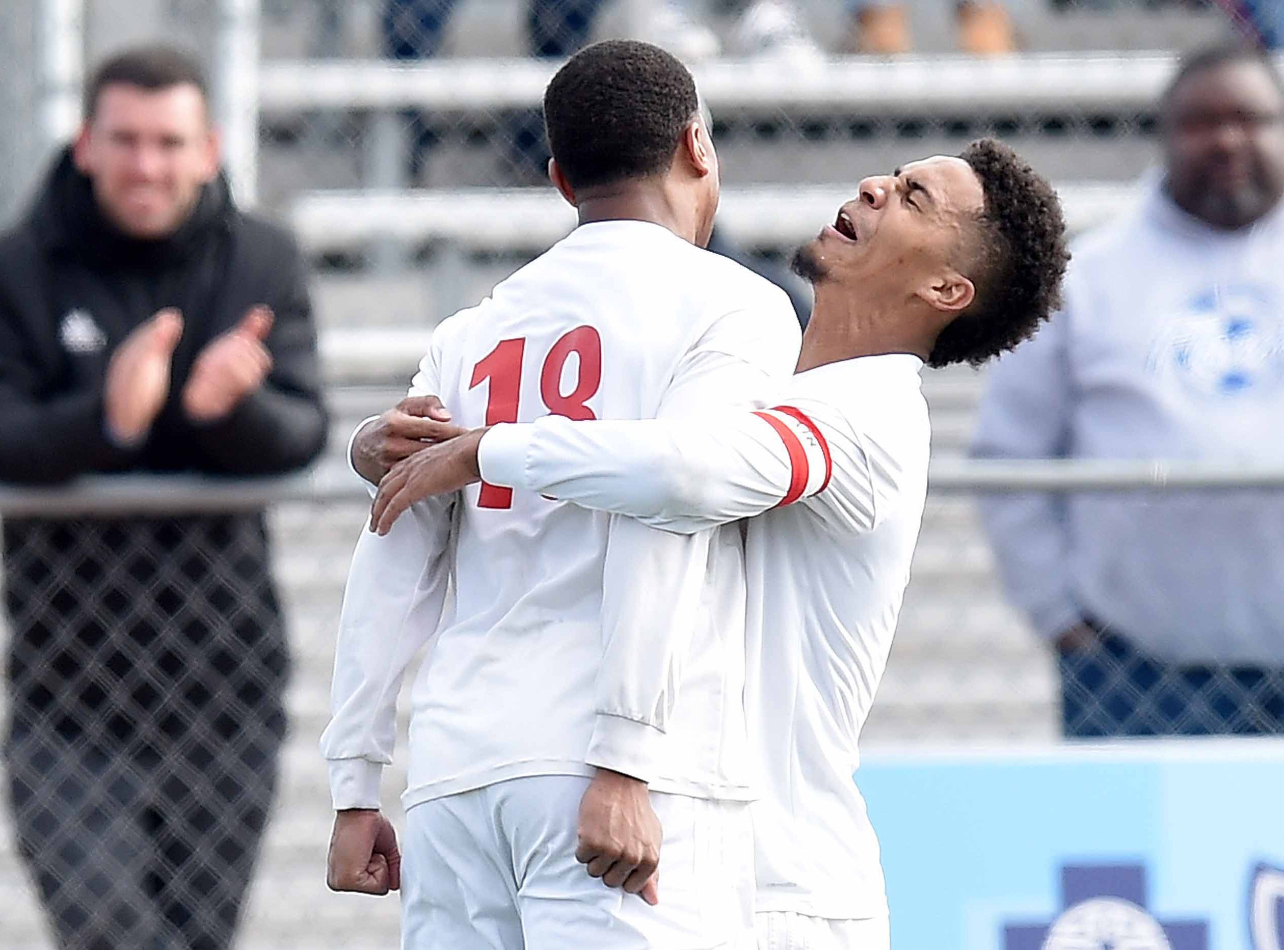 Richland's Greg Anderson (18) celebrates his penalty kick goal against West Lauderdale in the Class 4A state championship in the MHSAA BlueCross Blue Shield of Mississippi Soccer Classic on Saturday, February 9, 2019, at Ridgeland High School in Ridgeland, Miss.