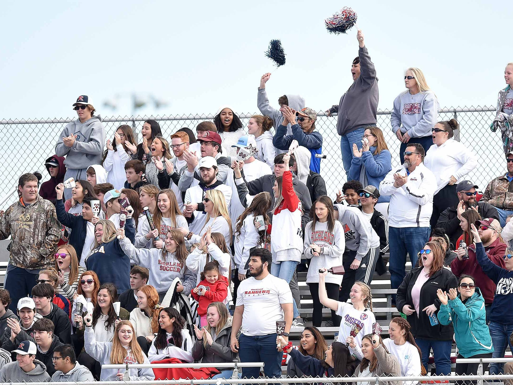 The Richland fans cheer after an Eagles goal against West Lauderdale in the Class 4A state championship in the MHSAA BlueCross Blue Shield of Mississippi Soccer Classic on Saturday, February 9, 2019, at Ridgeland High School in Ridgeland, Miss.