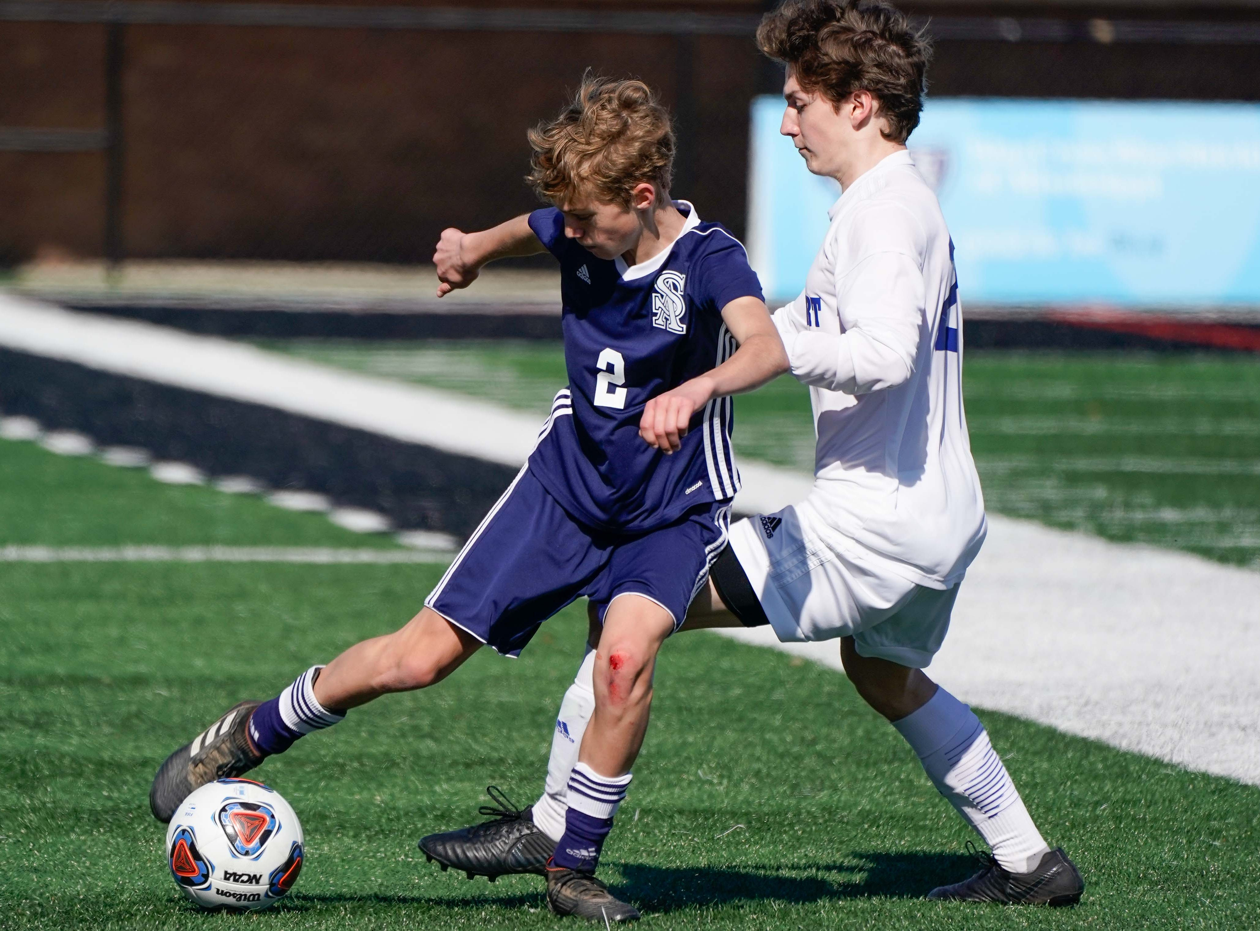 St. Andrew's Joshua Harvel (2) controals a ball against Sacred Heart during the MHSAA 1A,2A,3A  Boys Soccer Championships held at Brandon High School in Brandon, MS, Saturday February 9, 2019.(Bob Smith-For The Clarion Ledger)