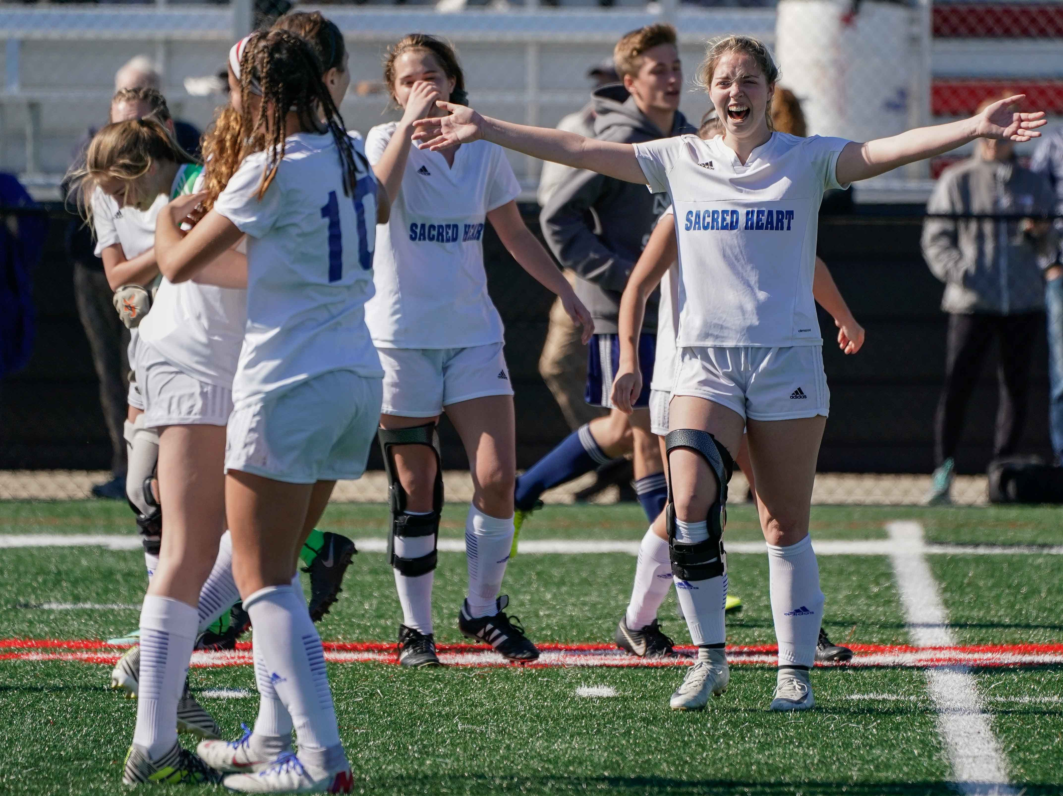 Sacred Hear girls celbrate following their 2-0 win in the MHSAA 1A,2A,3A  GIrls Soccer Championships held at Brandon High School in Brandon, MS, Saturday February 9, 2019.(Bob Smith-For The Clarion Ledger)