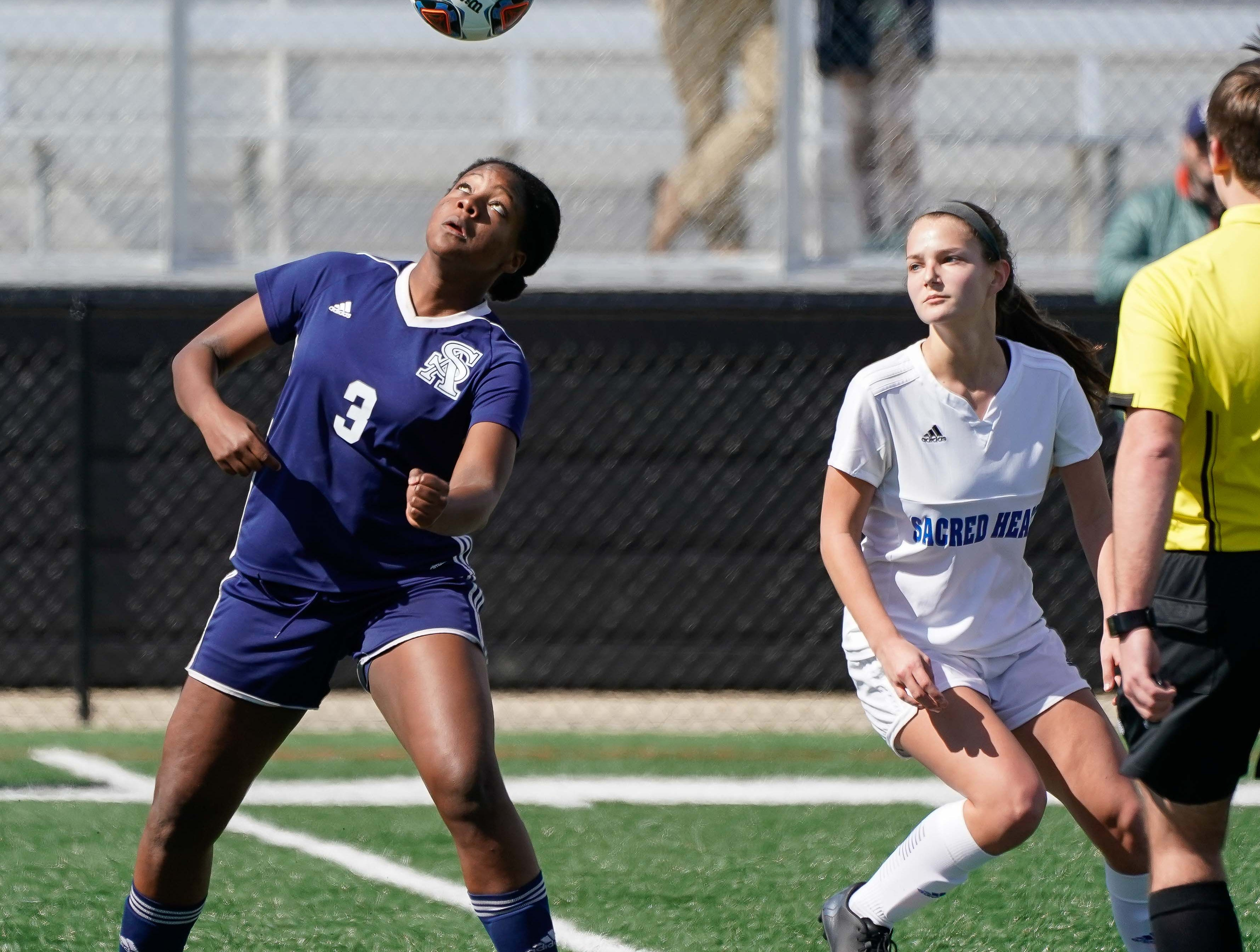 St. Andrew's (3) heads a ball against Sacred Heart during the MHSAA 1A,2A,3A  GIrls Soccer Championships held at Brandon High School in Brandon, MS, Saturday February 9, 2019.(Bob Smith-For The Clarion Ledger)