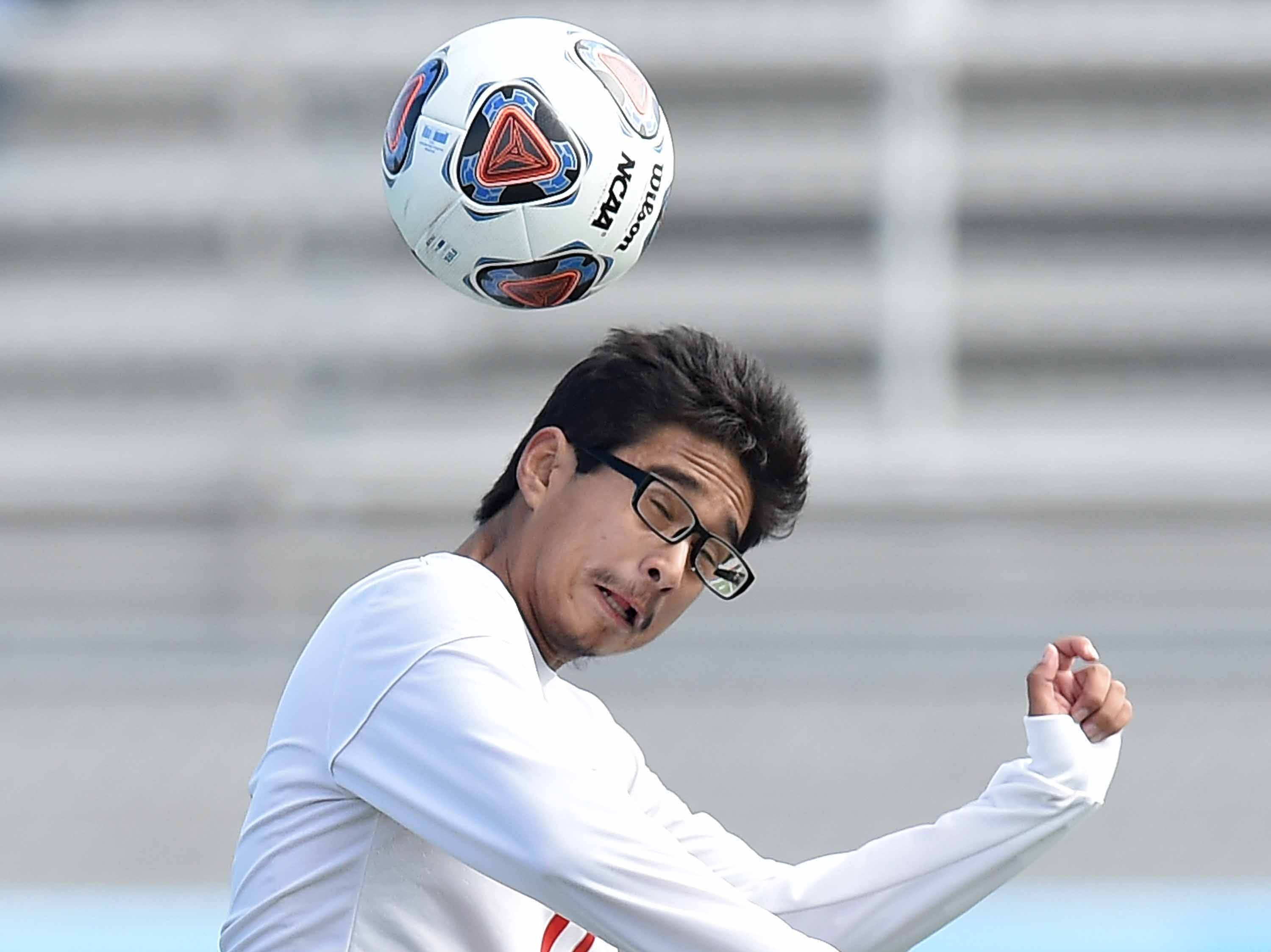 Richland's Billy Guevara (11) heads the ball against West Lauderdale in the Class 4A state championship in the MHSAA BlueCross Blue Shield of Mississippi Soccer Classic on Saturday, February 9, 2019, at Ridgeland High School in Ridgeland, Miss.