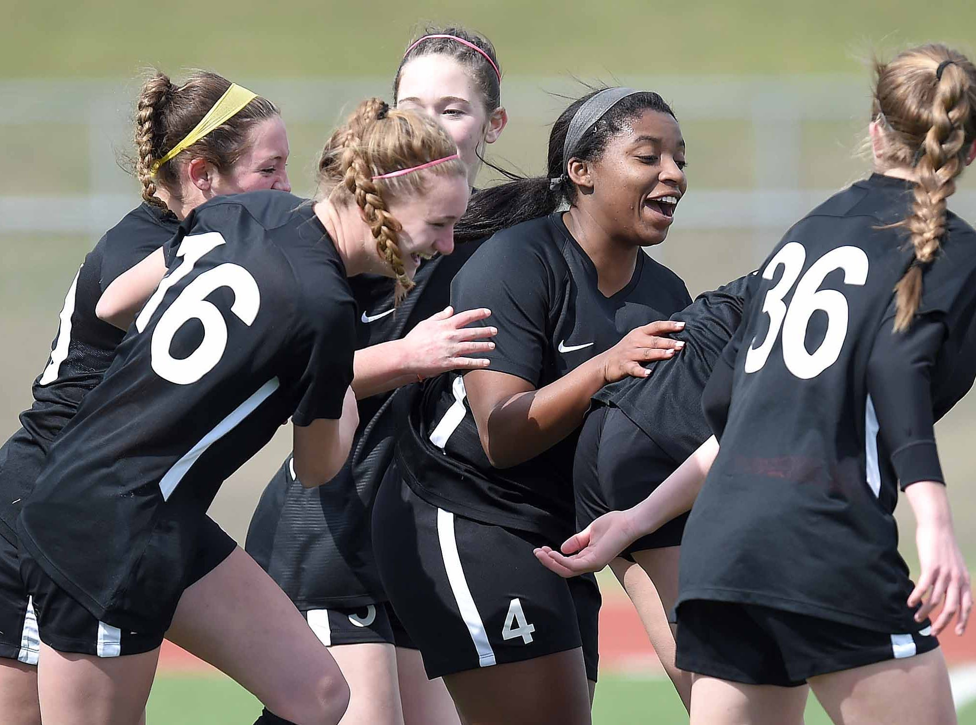 The West Lauderdale Lady Knights celebrate a goal against Florence in the Class 4A state championship in the MHSAA BlueCross Blue Shield of Mississippi Soccer Classic on Saturday, February 9, 2019, at Ridgeland High School in Ridgeland, Miss.