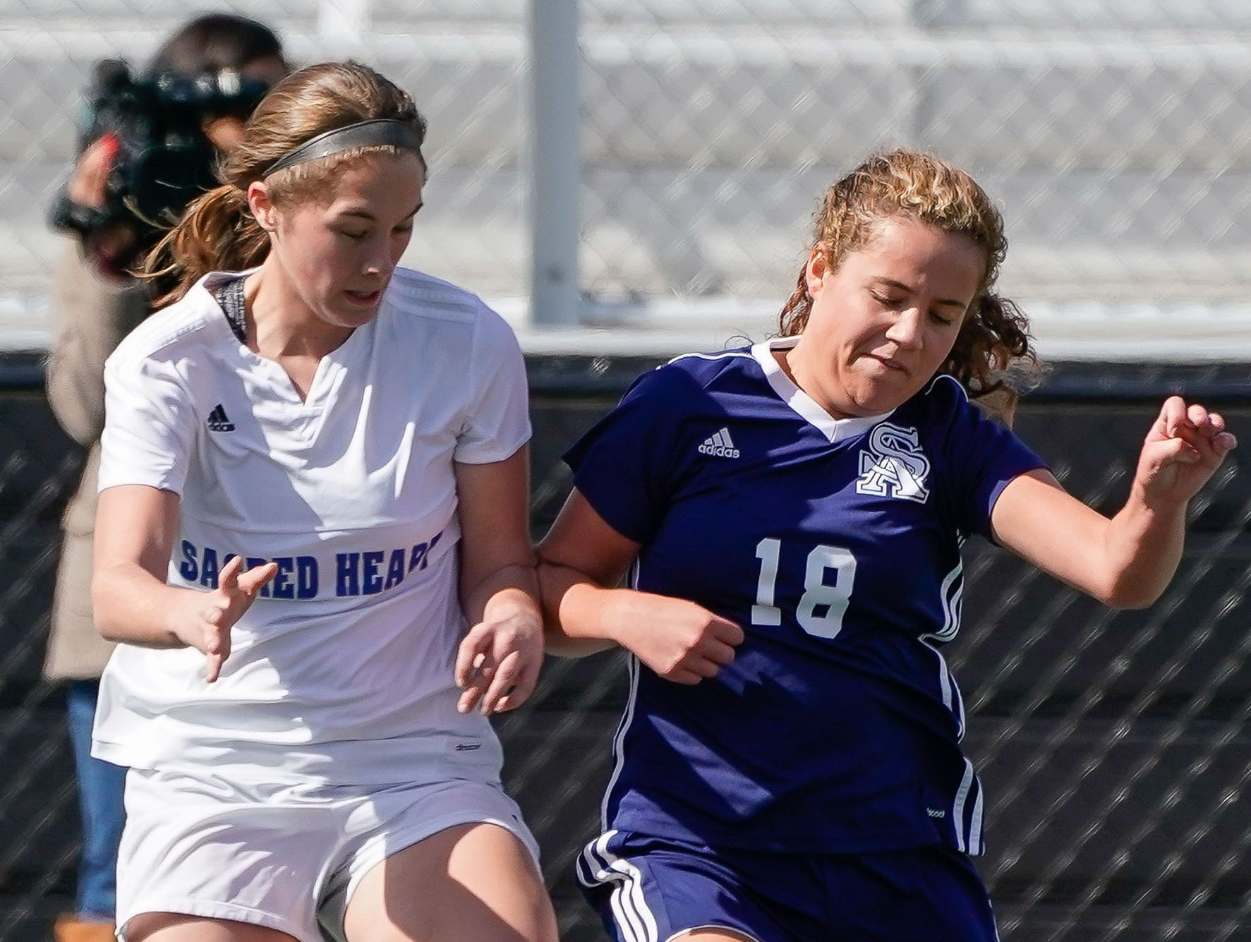 St. Andrew's Allison Santa Cruz (18) Sacred Heart's Blair Viator (20) battle for the ball during the MHSAA 1A,2A,3A  GIrls Soccer Championships held at Brandon High School in Brandon, MS, Saturday February 9, 2019.(Bob Smith-For The Clarion Ledger)