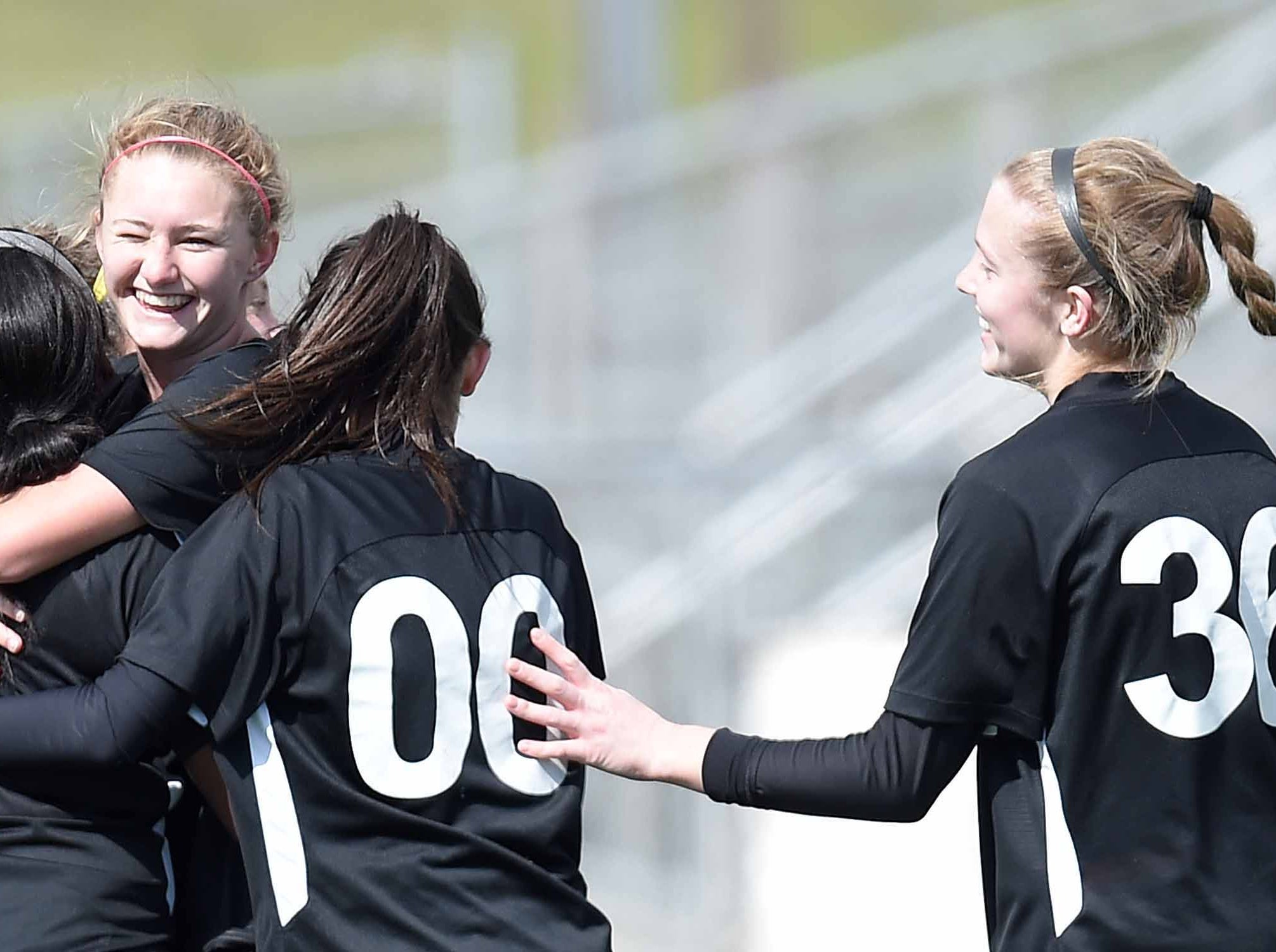 The West Lauderdale Lady Knights celebrate a goal by Jada Smith (4) off a penalty kick in the Class 4A state championship in the MHSAA BlueCross Blue Shield of Mississippi Soccer Classic on Saturday, February 9, 2019, at Ridgeland High School in Ridgeland, Miss.