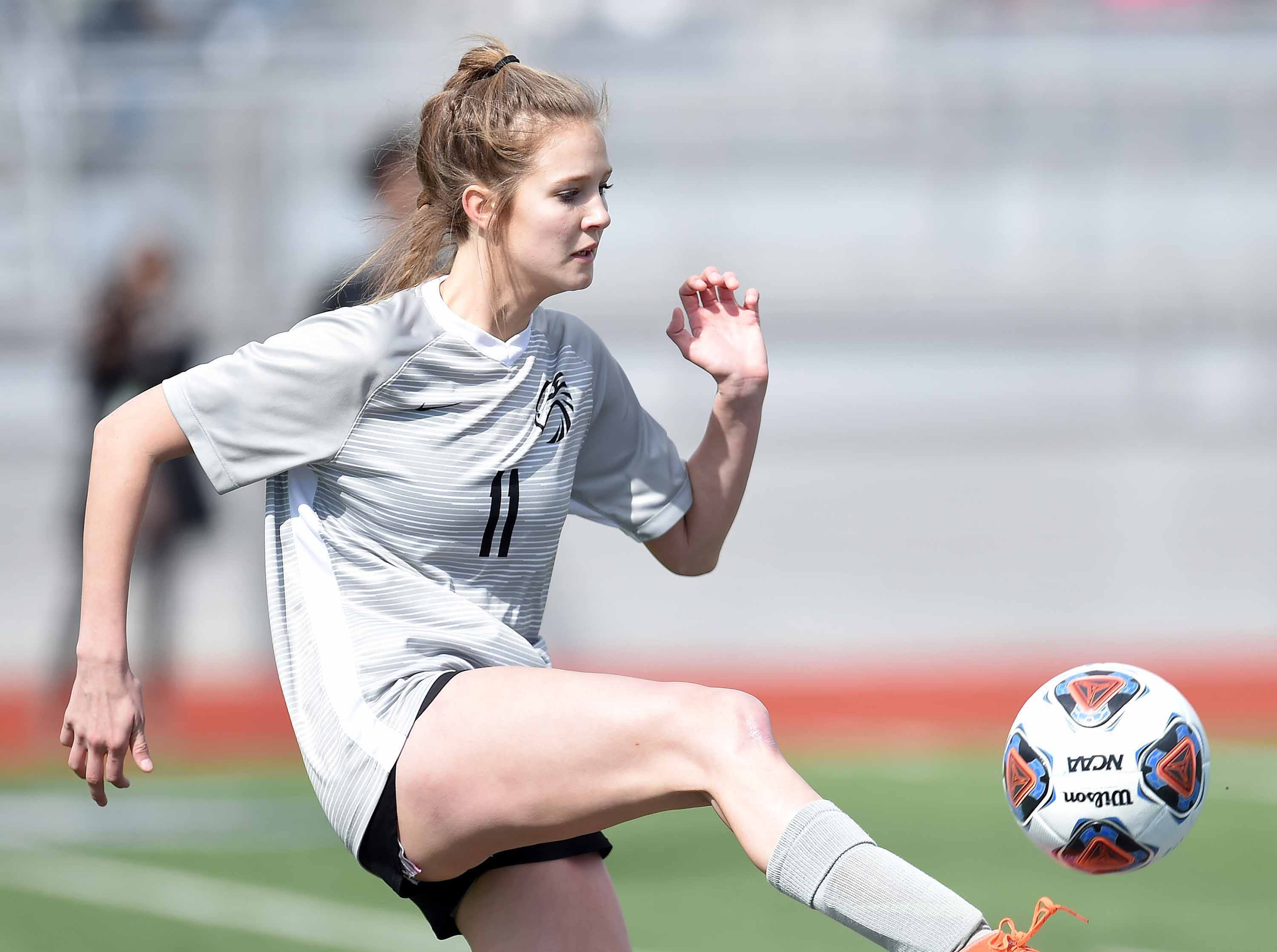 Florence's Kaitlyn Hubbard (11) intercepts a pass against West Lauderdale in the Class 4A state championship in the MHSAA BlueCross Blue Shield of Mississippi Soccer Classic on Saturday, February 9, 2019, at Ridgeland High School in Ridgeland, Miss.