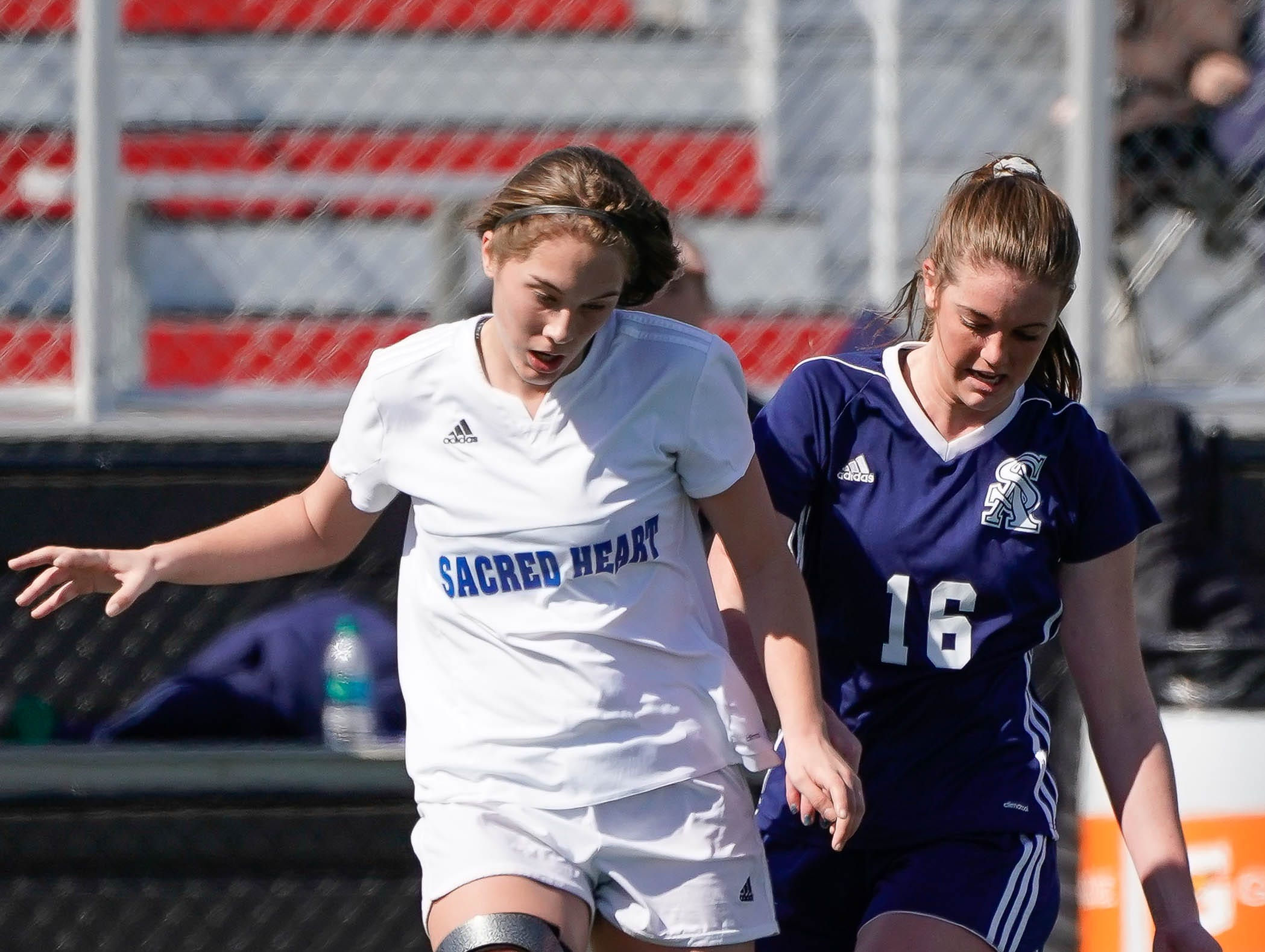 St. Andrew's Mary Regan Barnett (16) Sacred Heart's Blair Viator (20) battle for a ball during the MHSAA 1A,2A,3A  GIrls Soccer Championships held at Brandon High School in Brandon, MS, Saturday February 9, 2019.(Bob Smith-For The Clarion Ledger)
