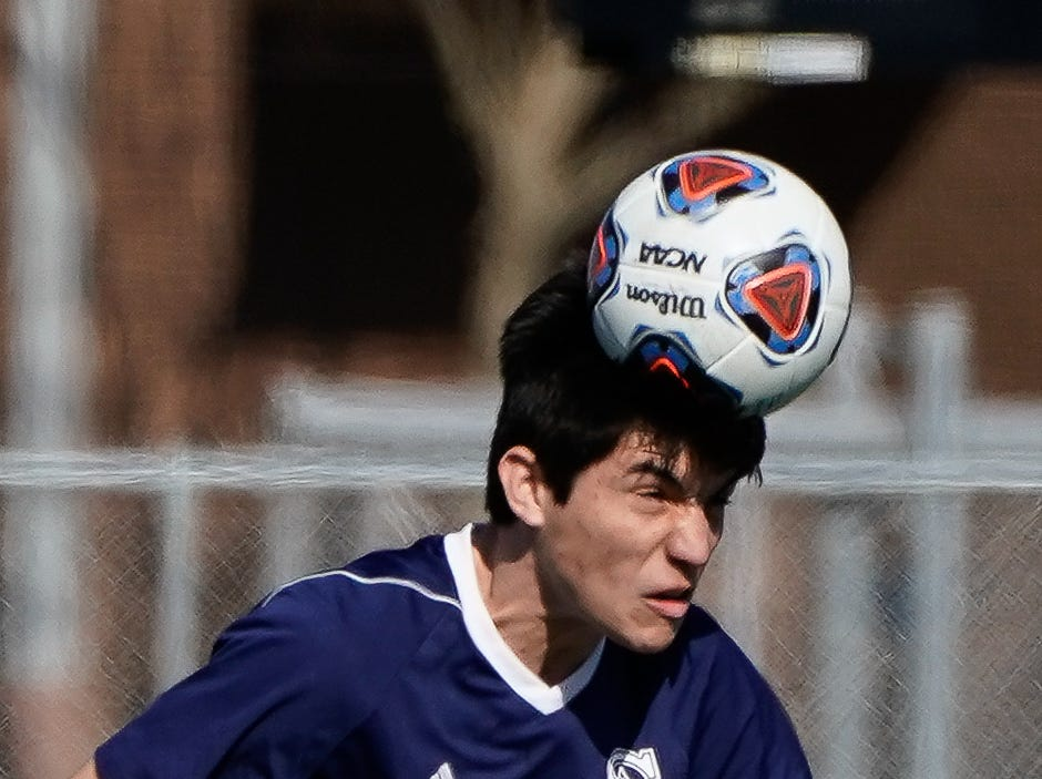 St. Andrew's Luis Flores (15) heads a ball against Sacred Heart during the MHSAA 1A,2A,3A  Boys Soccer Championships held at Brandon High School in Brandon, MS, Saturday February 9, 2019.(Bob Smith-For The Clarion Ledger)