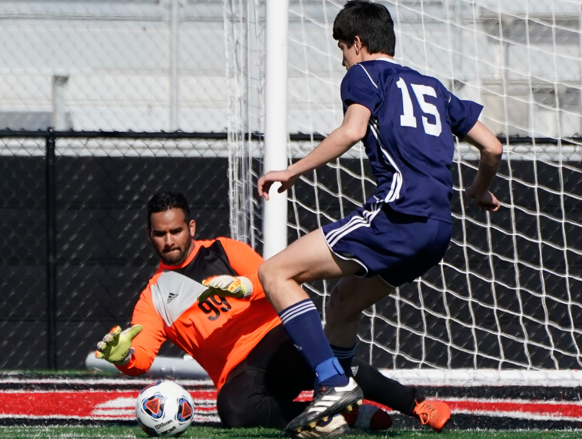 St. Andrew's keeper Sacheen Tipnis makes a save against Sacred Heart during the MHSAA 1A,2A,3A  Boys Soccer Championships held at Brandon High School in Brandon, MS, Saturday February 9, 2019.(Bob Smith-For The Clarion Ledger)