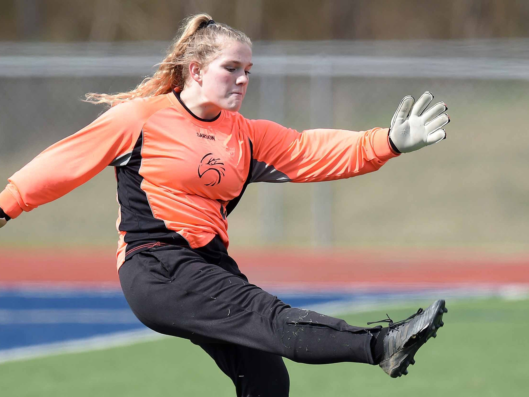 Florence goalkeeper Olivia Burnham (15) punts against West Lauderdale in the Class 4A state championship in the MHSAA BlueCross Blue Shield of Mississippi Soccer Classic on Saturday, February 9, 2019, at Ridgeland High School in Ridgeland, Miss.