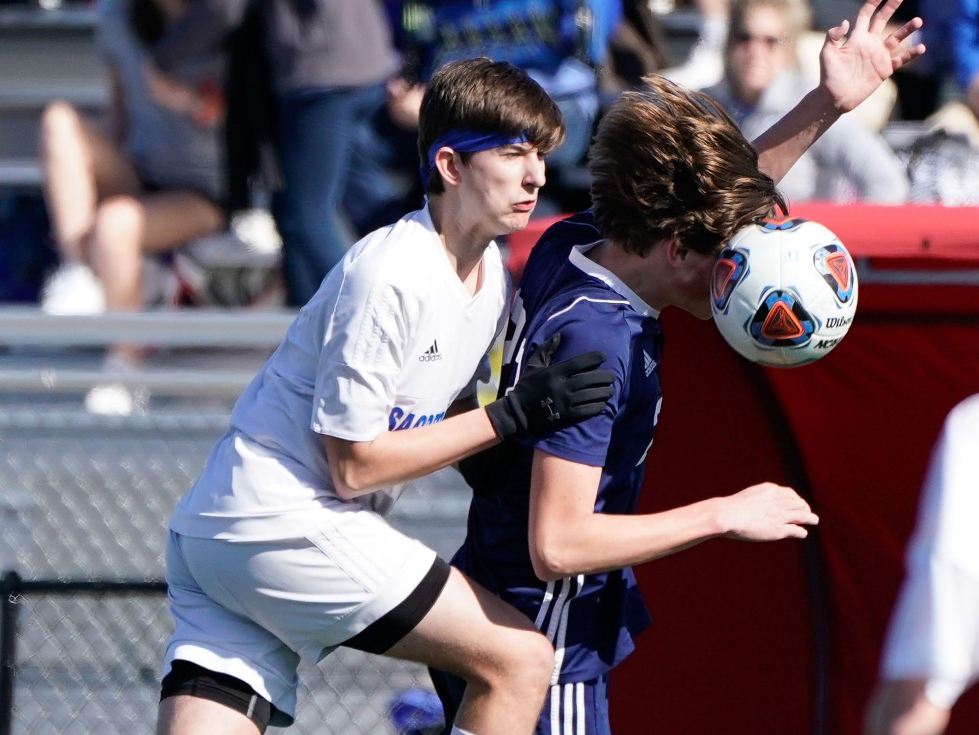 St. Andrew's Chadwick Collins (22) heads a ball against Sacred Heart during the MHSAA 1A,2A,3A  Boys Soccer Championships held at Brandon High School in Brandon, MS, Saturday February 9, 2019.(Bob Smith-For The Clarion Ledger)