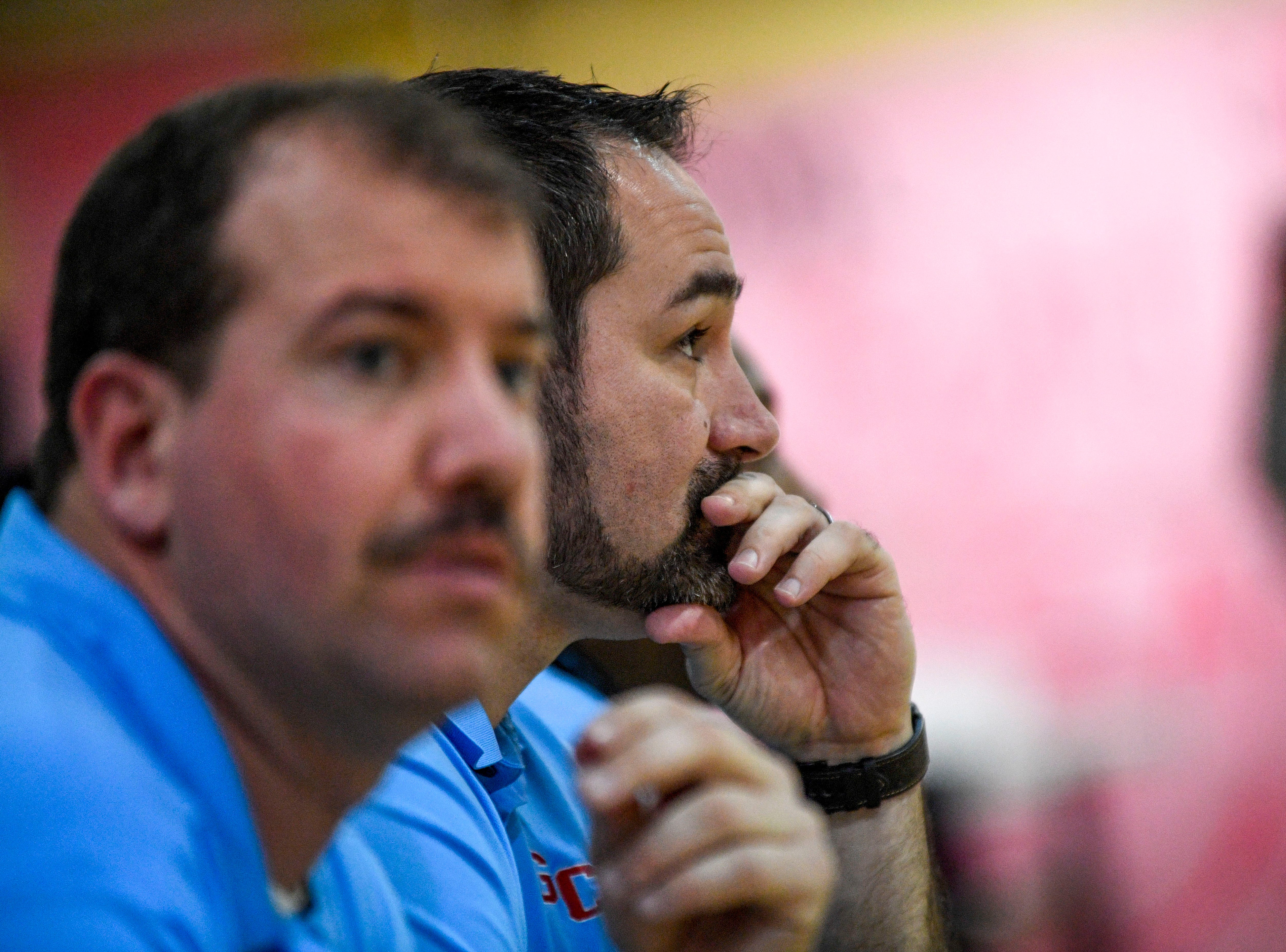 Gibson County head coach Justin Lowery watches his team from the bench in a TSSAA basketball game between Peabody and Gibson County at Peabody High School in Trenton, Tenn., on Friday, Feb. 8, 2019.