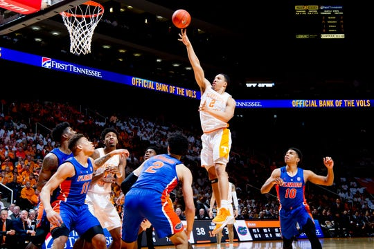 Tennessee forward Grant Williams (2) shoots a layup during a game between Tennessee and Florida at Thompson-Boling Arena in Knoxville, Tennessee on Saturday, February 9, 2019.