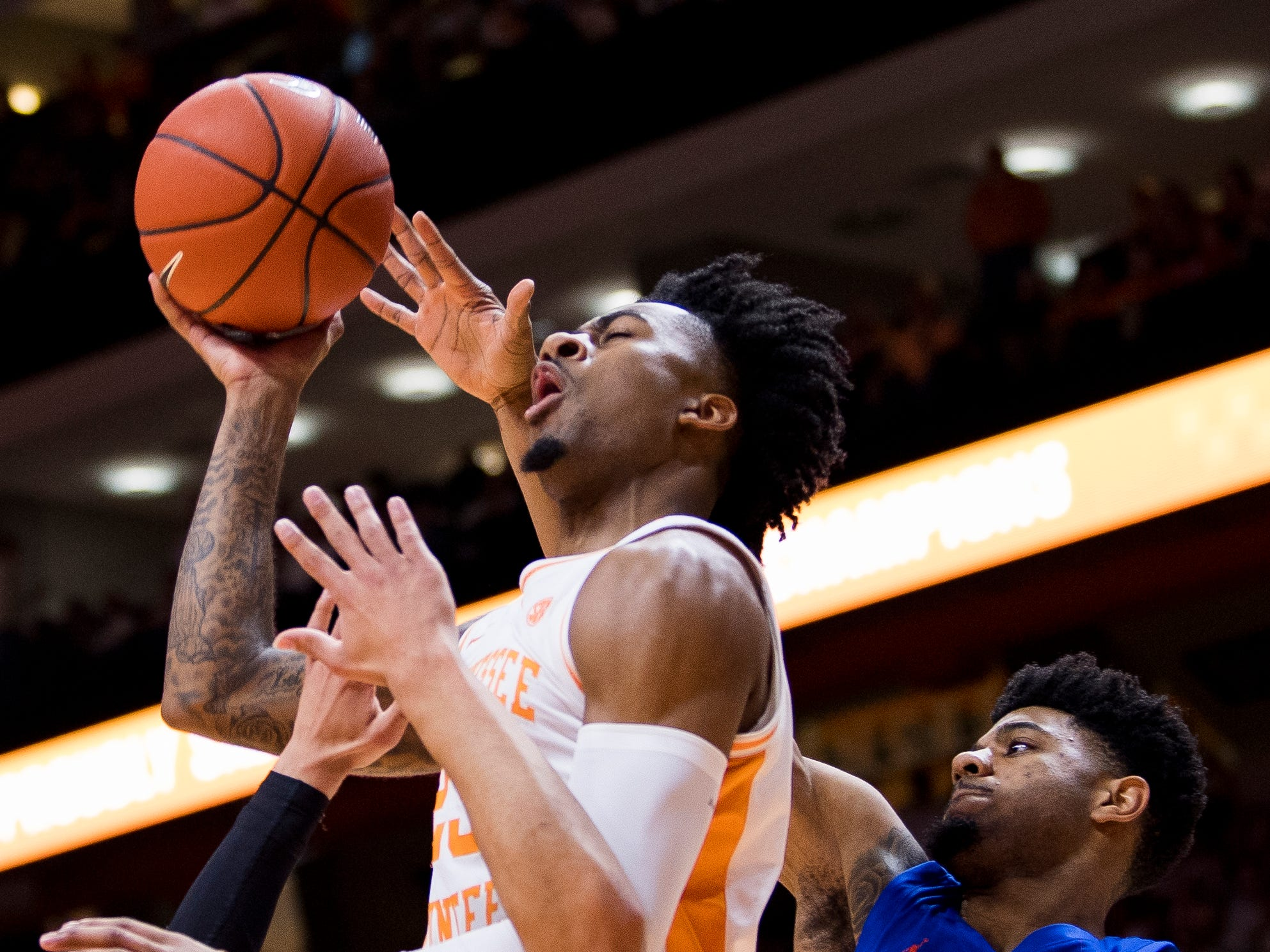Tennessee guard Jordan Bowden (23) attempts a shot during Tennessee's home SEC conference game against Florida at Thompson-Boling Arena in Knoxville on Saturday, February 9, 2019.