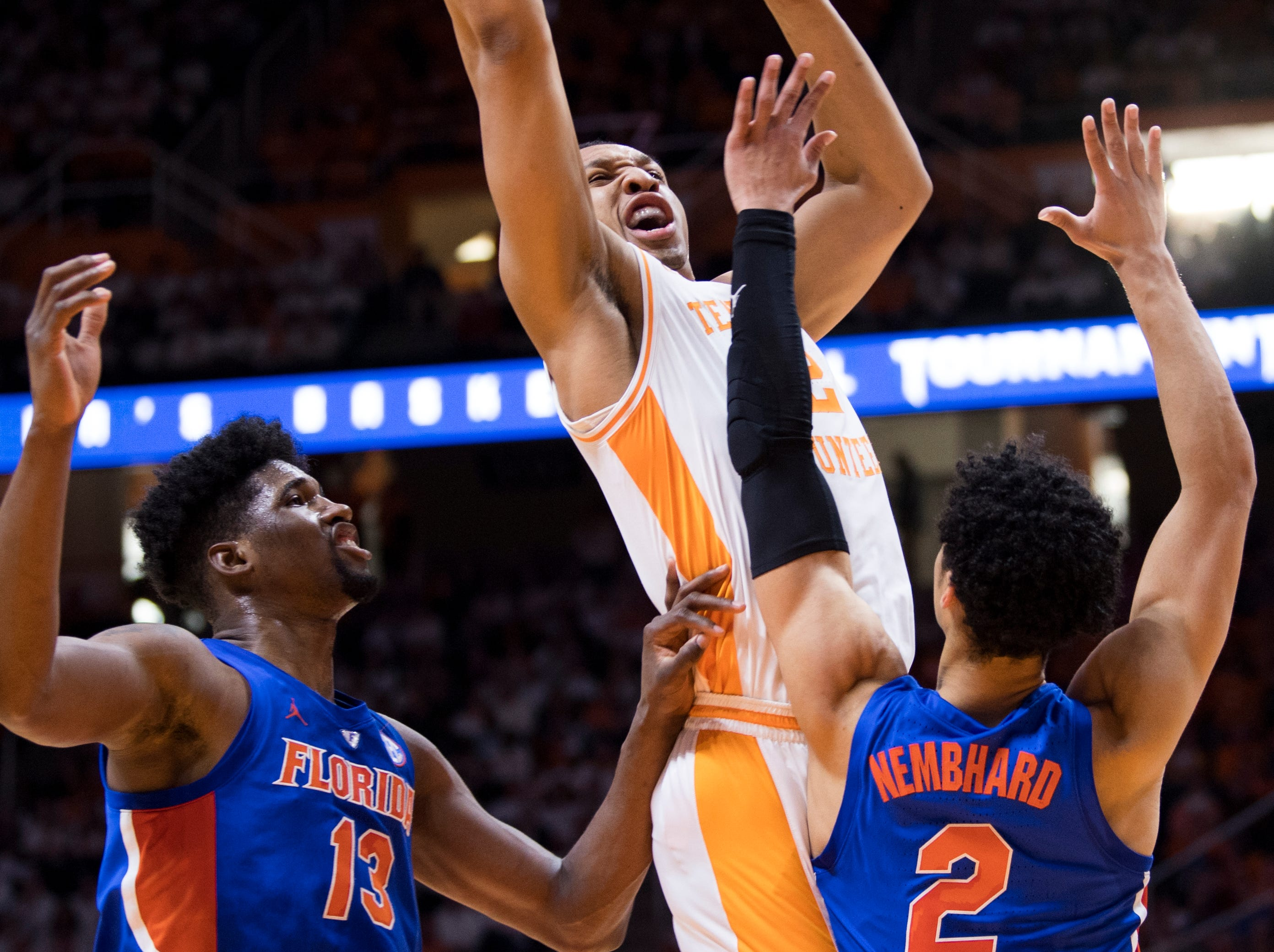 Tennessee forward Grant Williams (2) attempts a shot during Tennessee's home SEC conference game against Florida at Thompson-Boling Arena in Knoxville on Saturday, February 9, 2019.