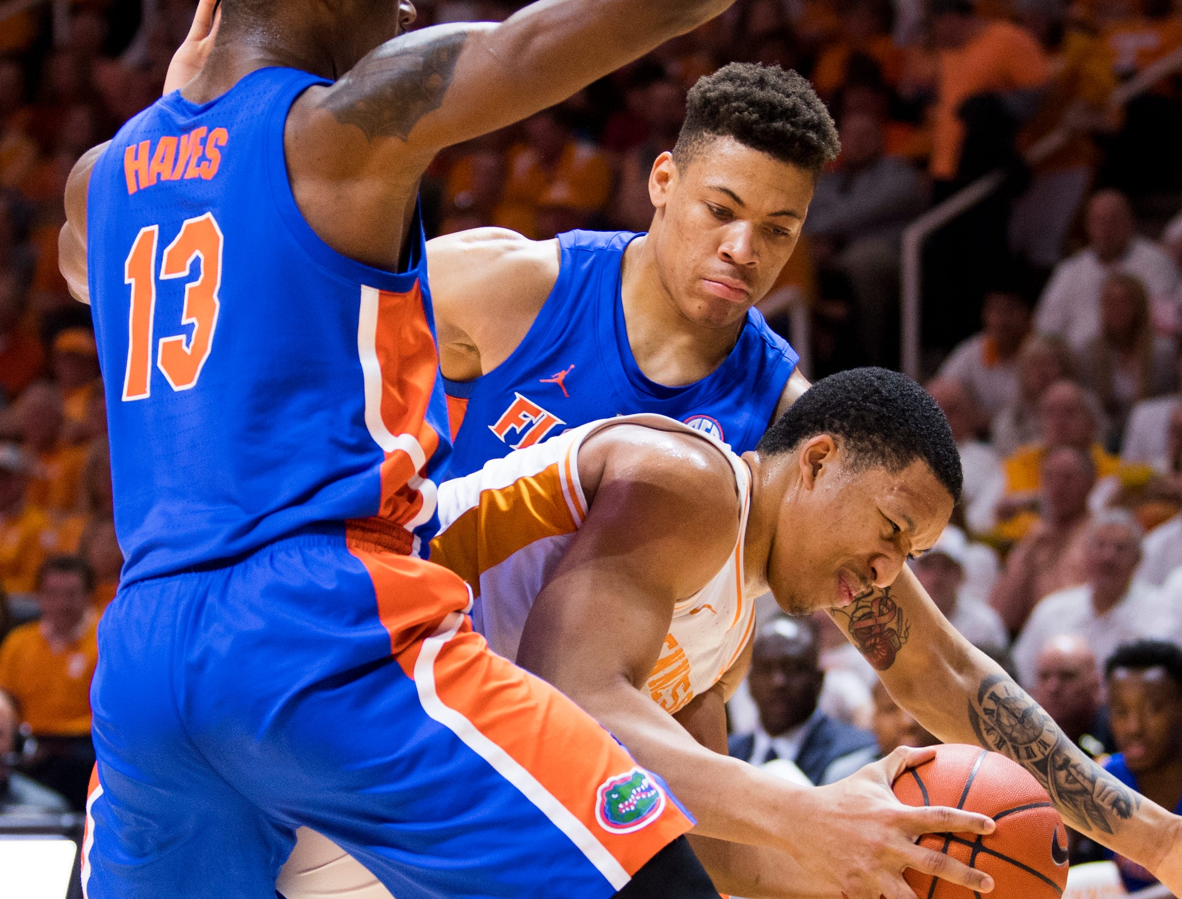 Tennessee forward Grant Williams (2) is double teamed during Tennessee's home SEC conference game against Florida at Thompson-Boling Arena in Knoxville on Saturday, February 9, 2019.