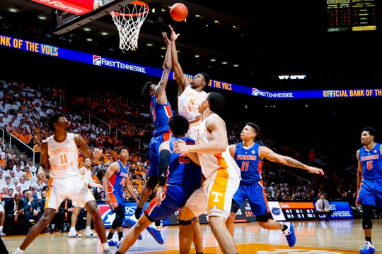 Tennessee guard Admiral Schofield (5) shoots the ball during a game between Tennessee and Florida at Thompson-Boling Arena in Knoxville, Tennessee on Saturday, February 9, 2019.