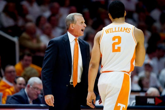 Tennessee Head Coach Rick Barnes calls during a game between Tennessee and Florida at Thompson-Boling Arena in Knoxville, Tennessee on Saturday, February 9, 2019.