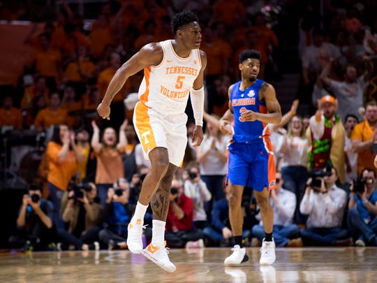 Tennessee guard Admiral Schofield (5) skips across court after making a dunk during Tennessee's home SEC conference game against Florida at Thompson-Boling Arena in Knoxville on Saturday, February 9, 2019.